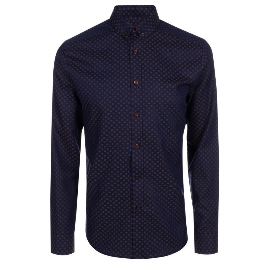 Paul smith men 39 s navy polka dot button down shirt in blue for Button down polka dot shirt