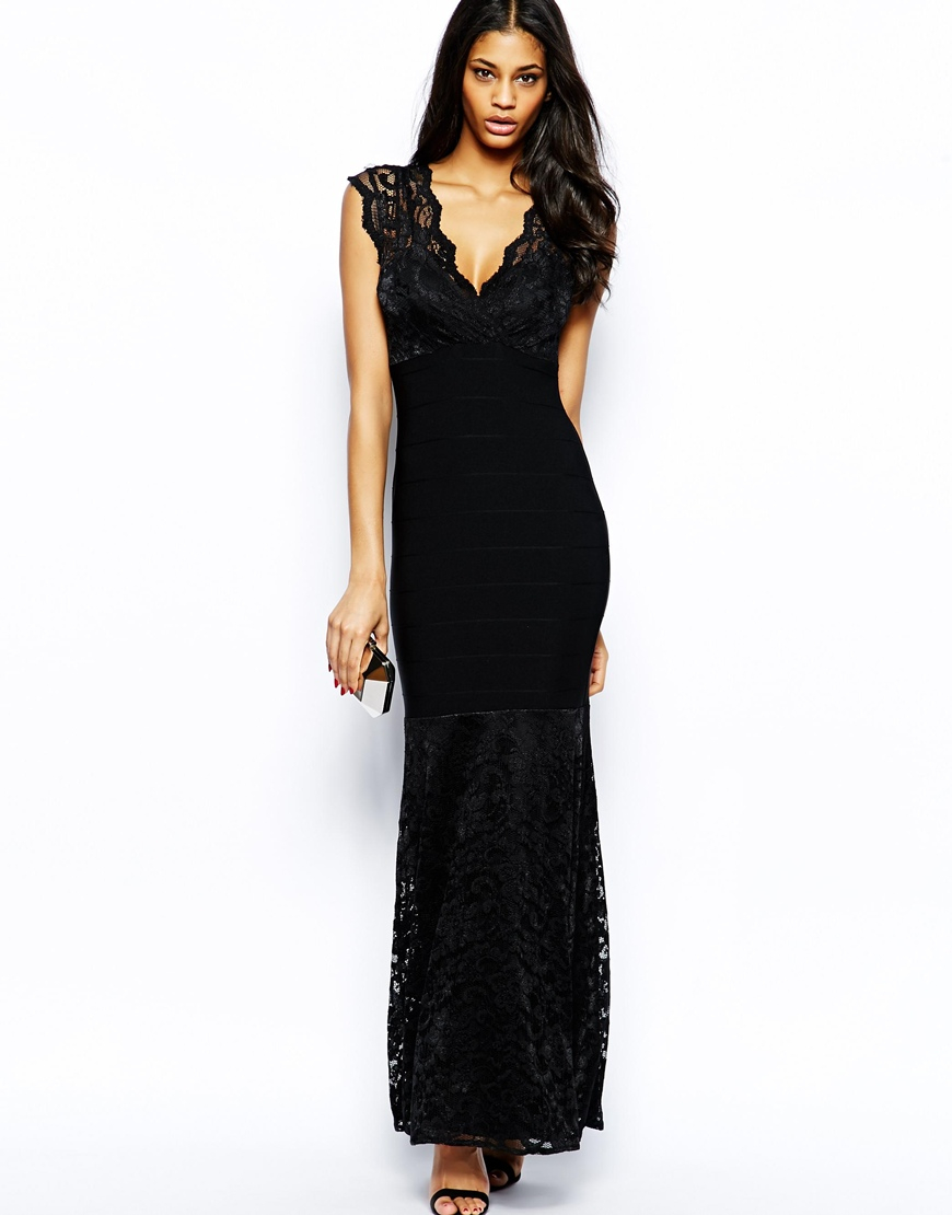 Lipsy Lace Maxi Dress with Wrap Front in Black | Lyst