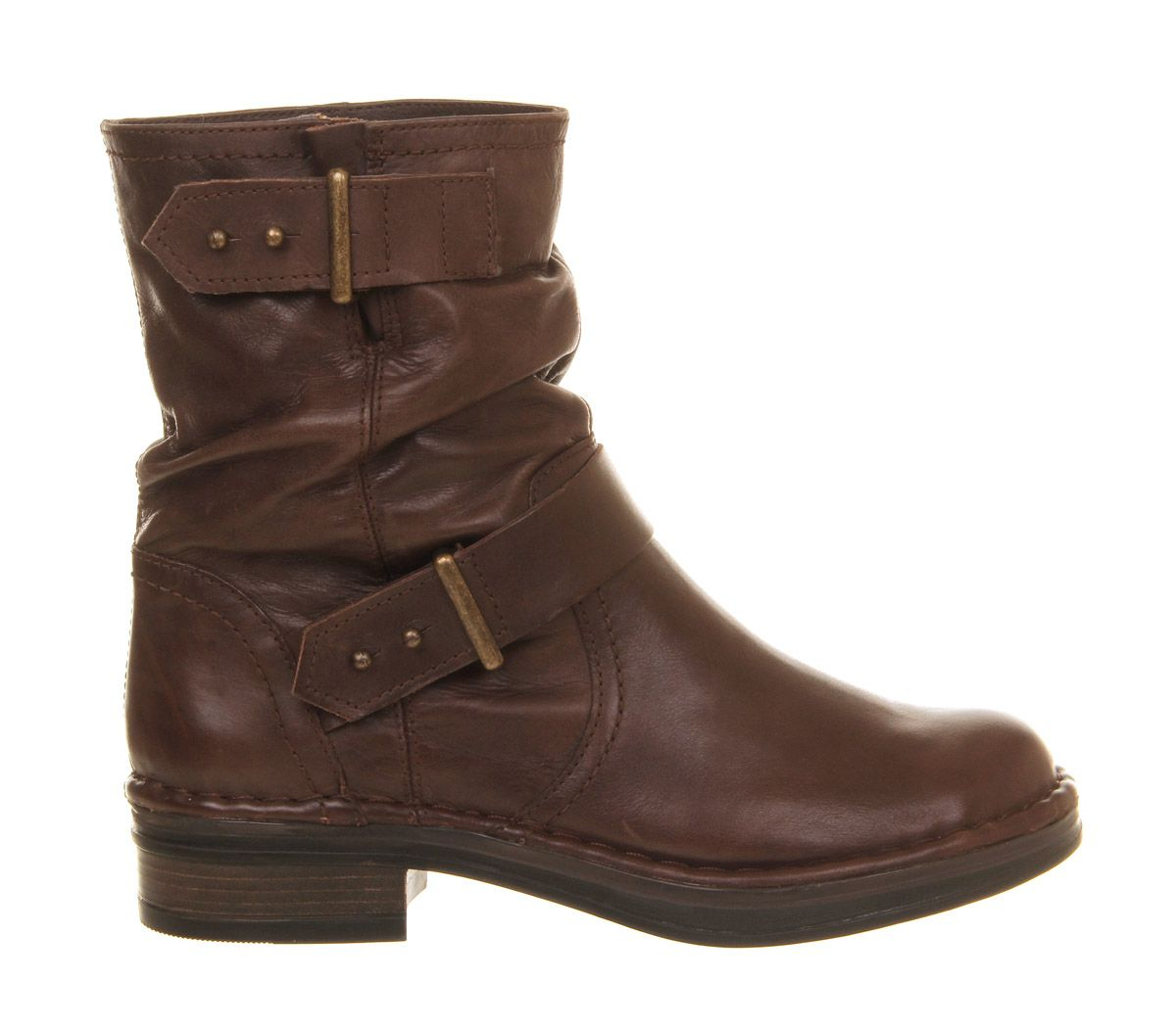 office clamber biker boots in brown lyst