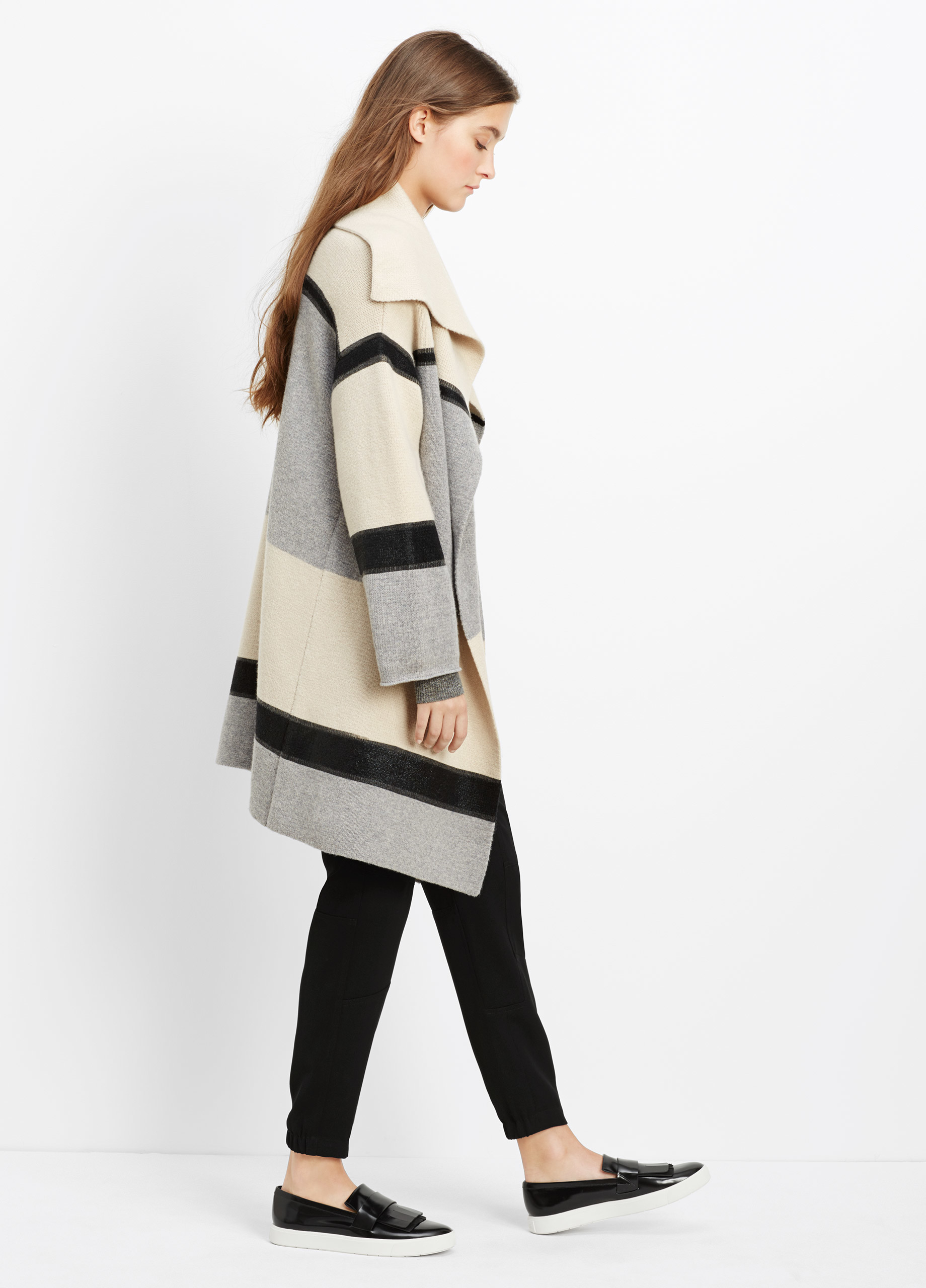 Vince Wool Cashmere Colorblock Car Coat in White | Lyst