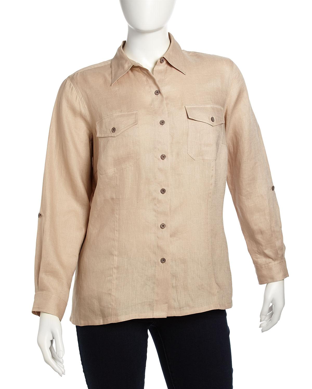Safari Shirt Cognac Heels: Go> By Go Silk Linen Buttondown Longsleeve Safari