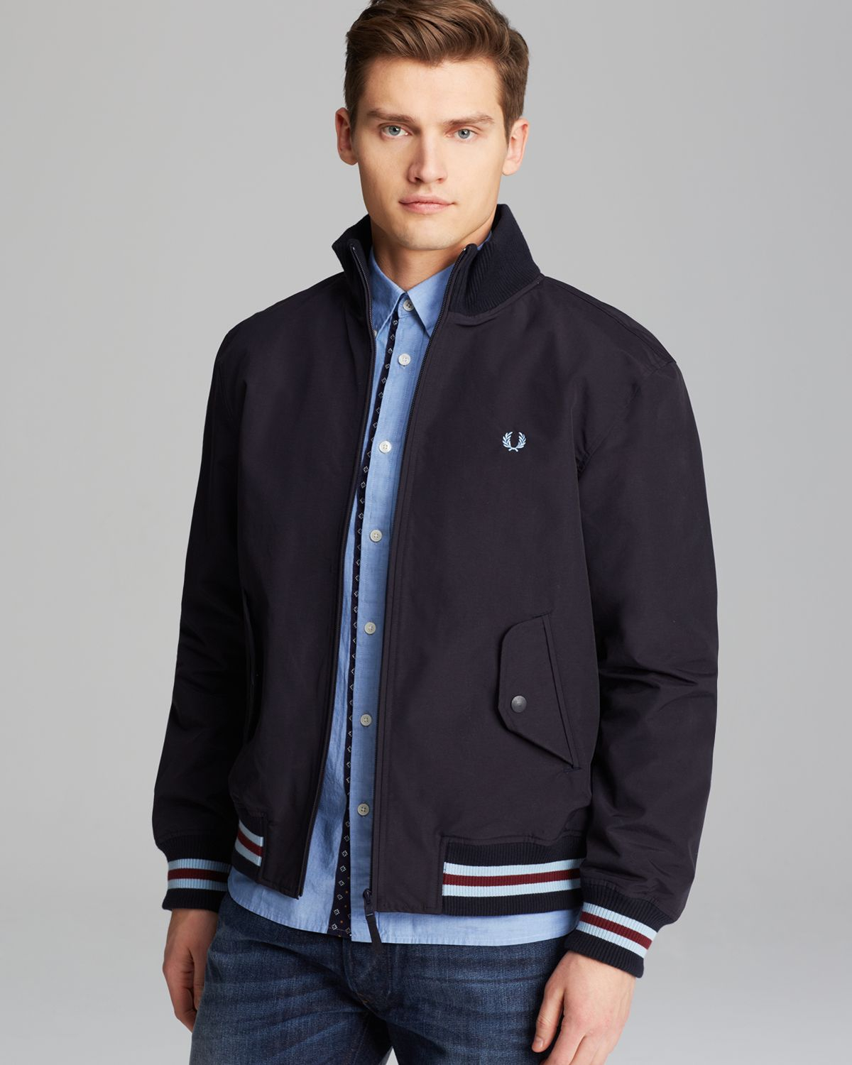 fred perry tipped nylon bomber jacket in blue for men navy lyst. Black Bedroom Furniture Sets. Home Design Ideas