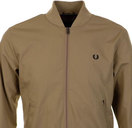 fred perry x bradley wiggins tipped bomber jacket in beige for men lyst. Black Bedroom Furniture Sets. Home Design Ideas