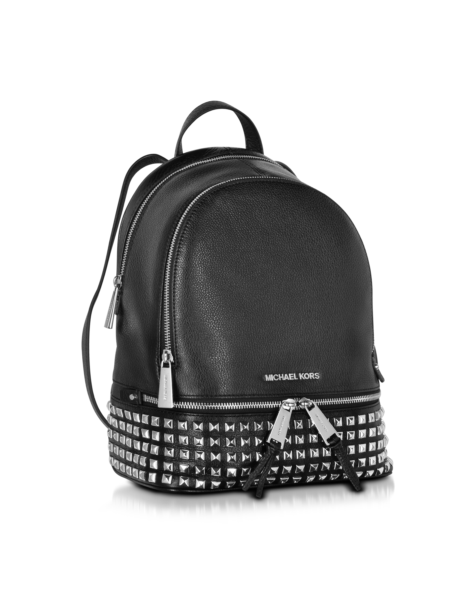 df425c8e96696 Lyst - Michael Kors Rhea Zip Small Studded Leather Backpack in Black