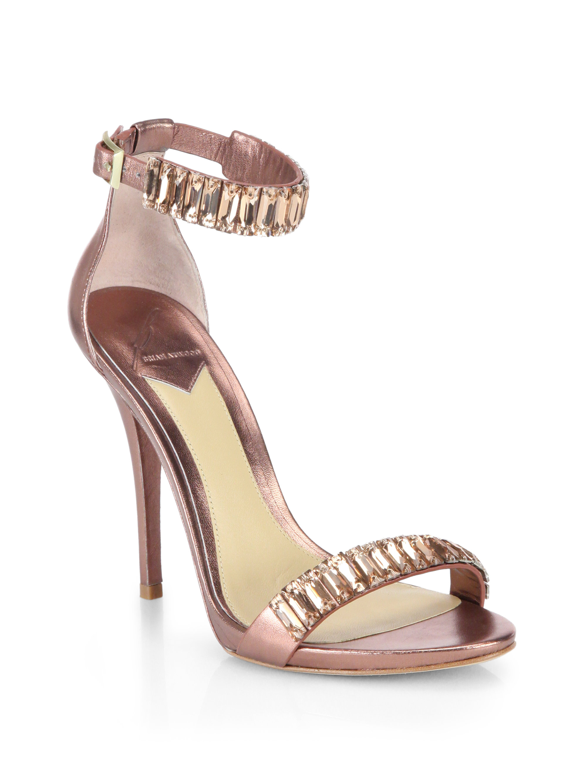 B Brian Atwood Ciara Crystal Amp Metallic Leather Sandals In