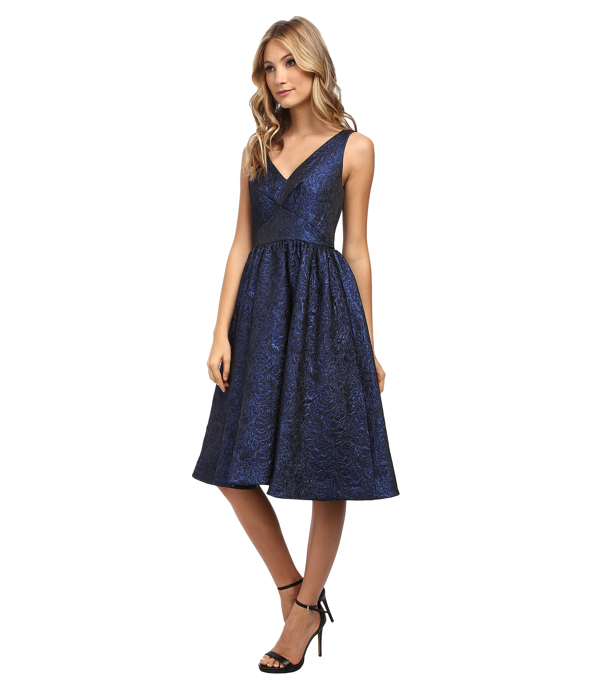 44d1cf729d Lyst - Donna Morgan V-neck Dress W  Shirred Full Skirt in Blue