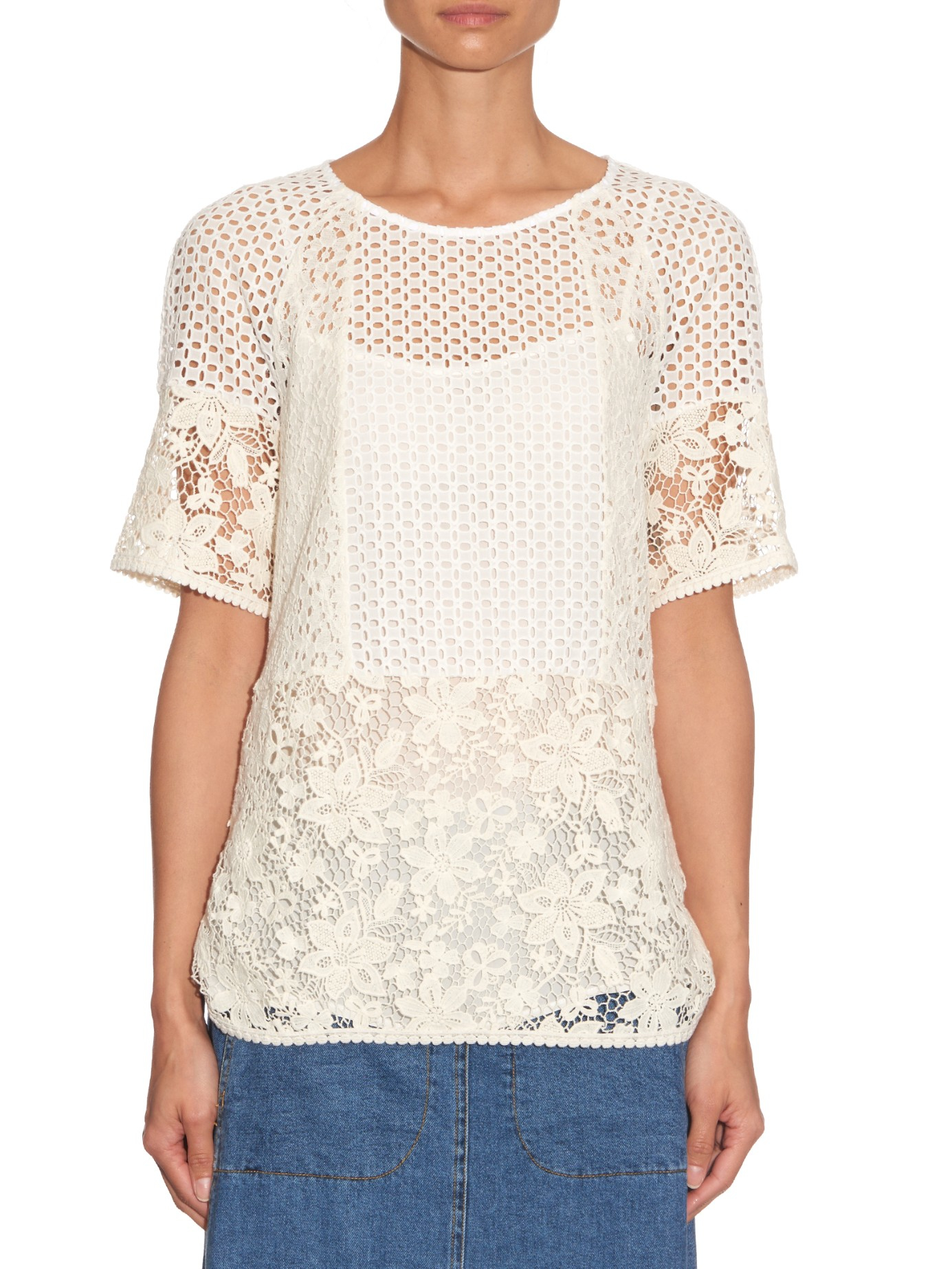 Lace cotton top Chloé Buy Cheap Purchase qlSjjFwA4v