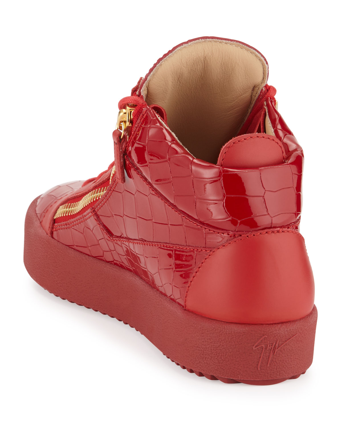 b3cc41630a06c Giuseppe Zanotti Croc Embossed Leather Mid Top Sneakers In Red For