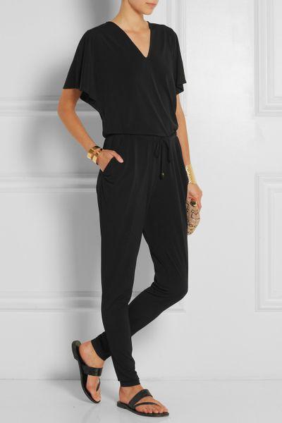 michael michael kors stretch jersey crepe jumpsuit in black lyst. Black Bedroom Furniture Sets. Home Design Ideas