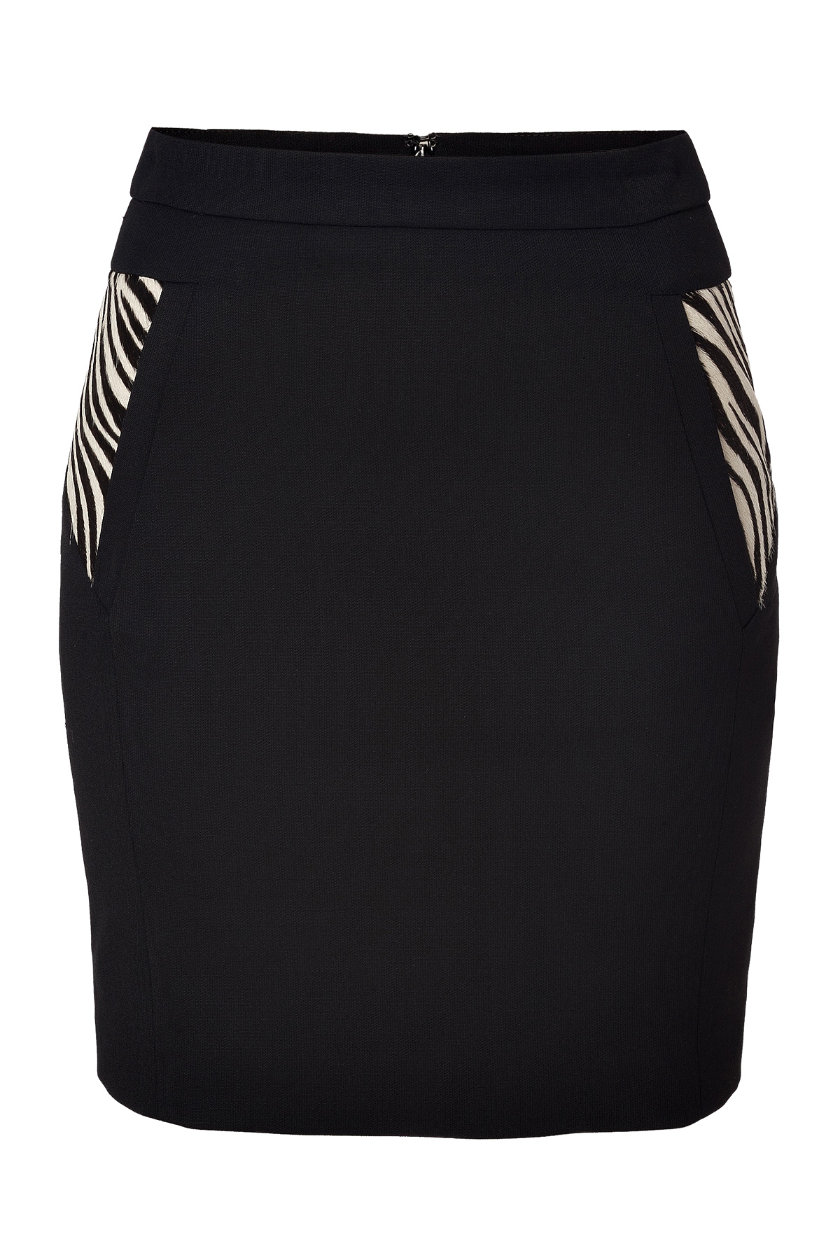 the kooples stretch wool pencil skirt with zebra panels in