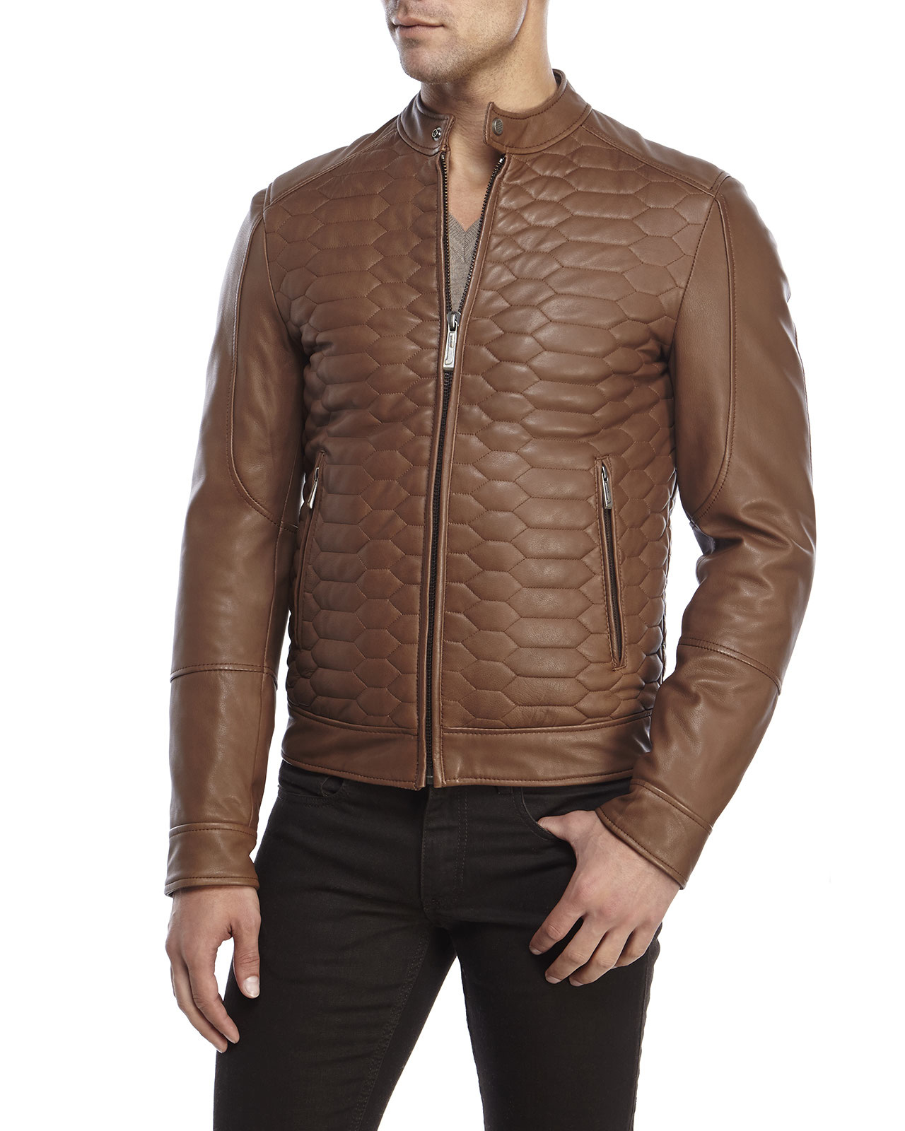 Just cavalli Quilted Leather Jacket in Brown for Men | Lyst