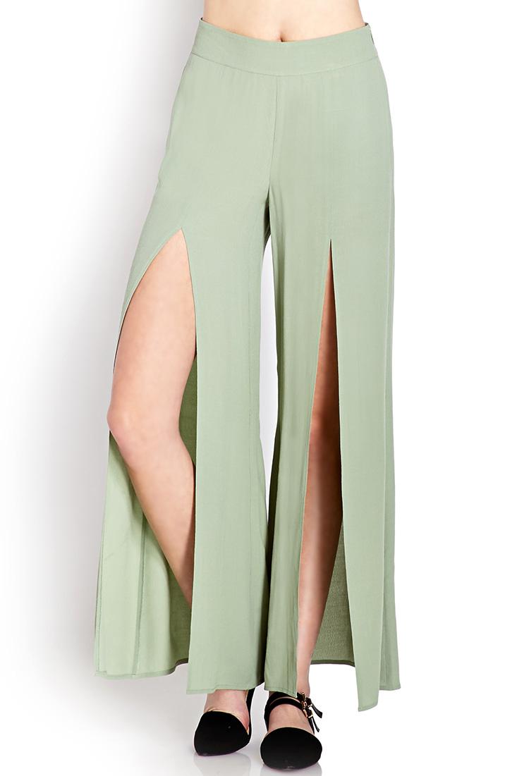 Forever 21 Boho Moment Slit Wide-leg Pants in Green | Lyst