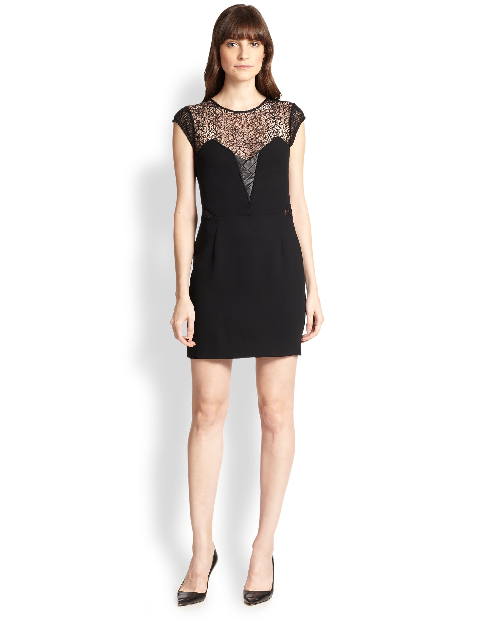 513e5c43aa7 The Kooples Lace Illusion Dress in Black - Lyst