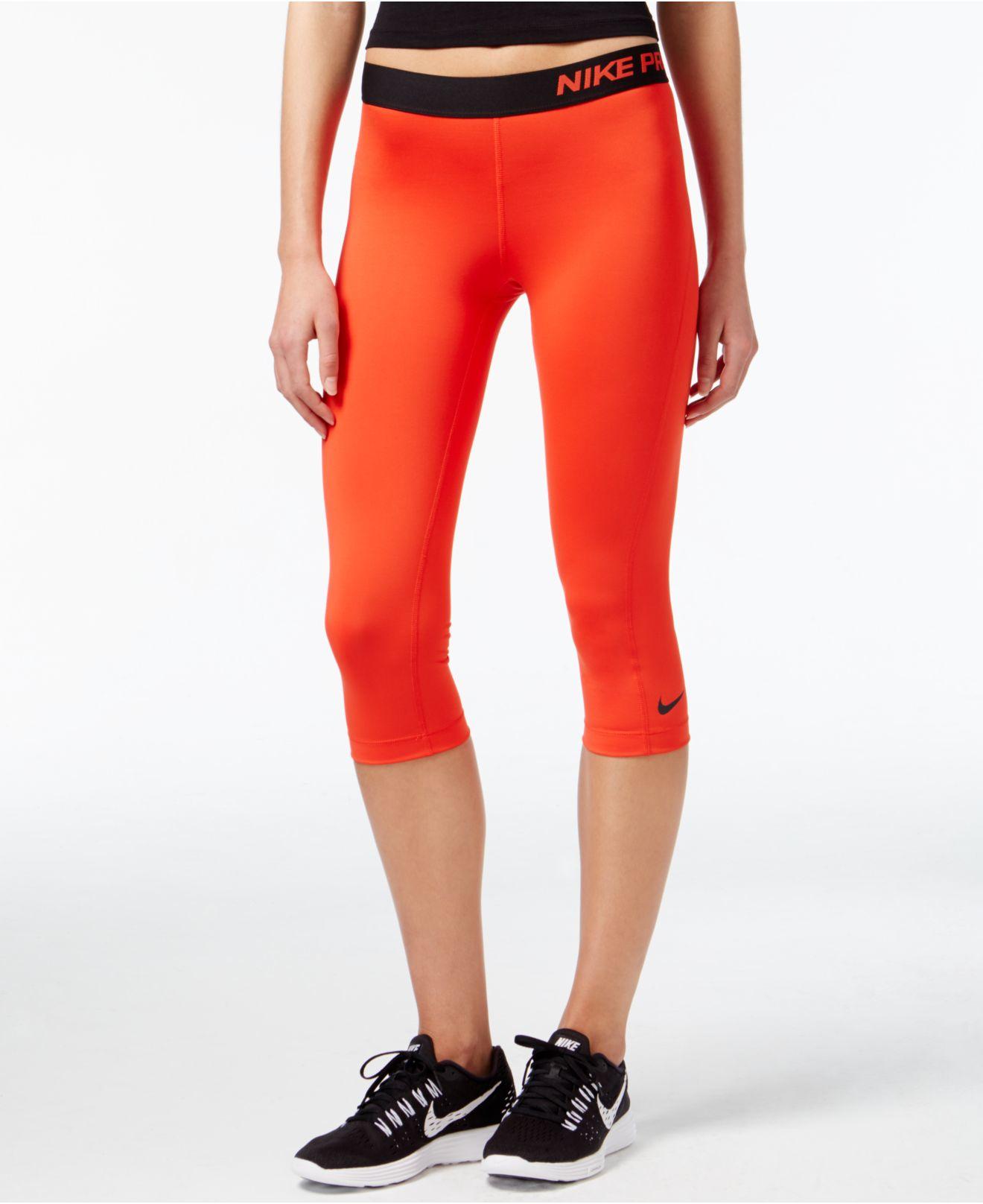 Lyst - Nike Pro Capri Active Leggings in Red ae93d1da1