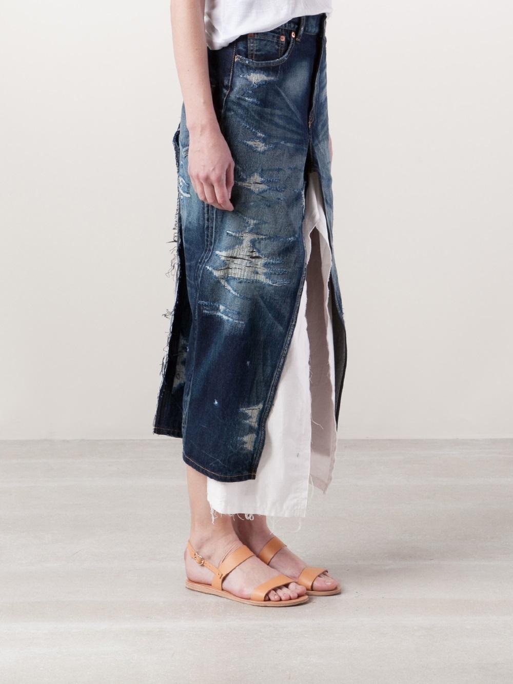 junya watanabe denim skirt in blue lyst