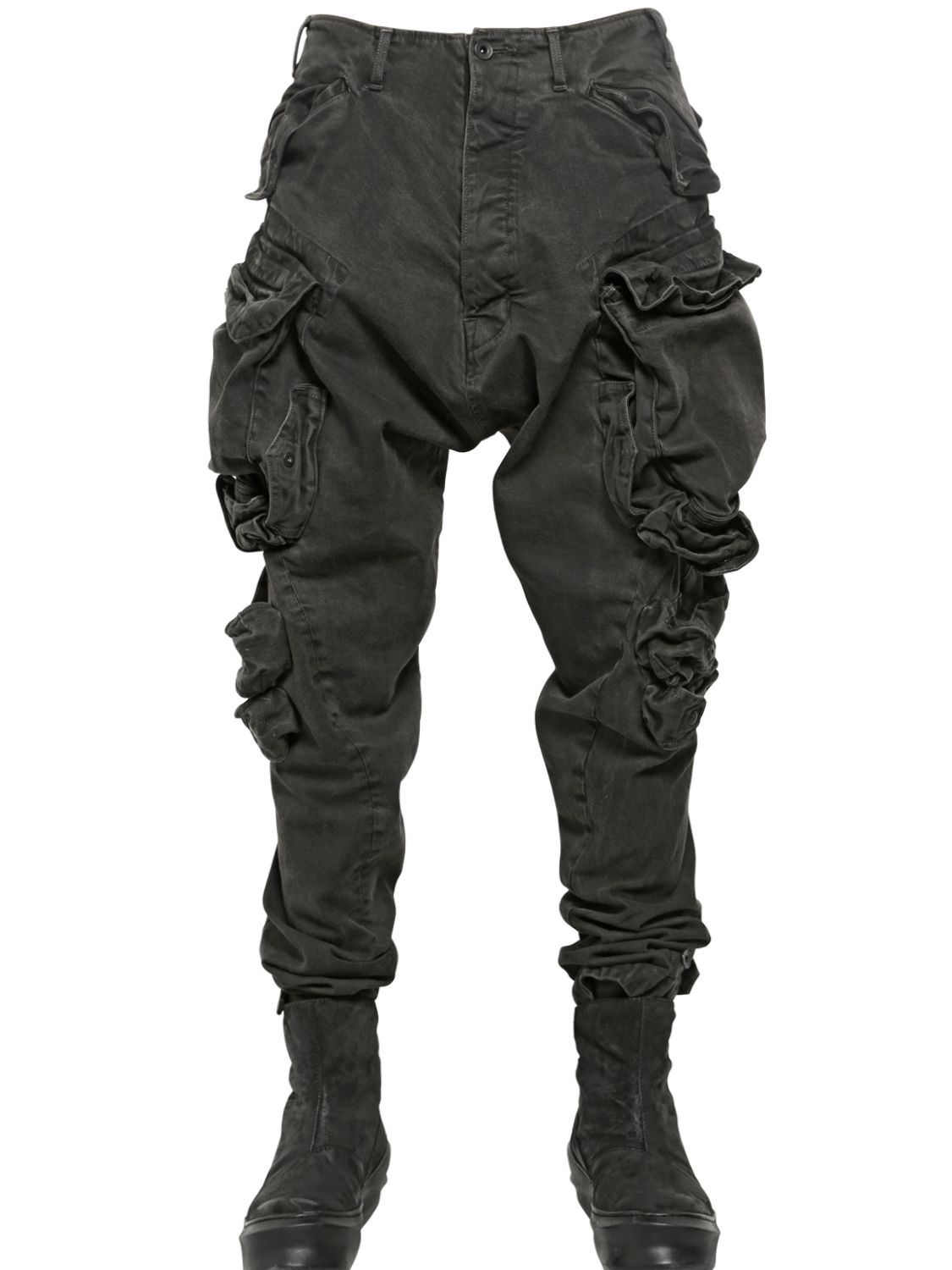 black cotton cargo pants - Pi Pants