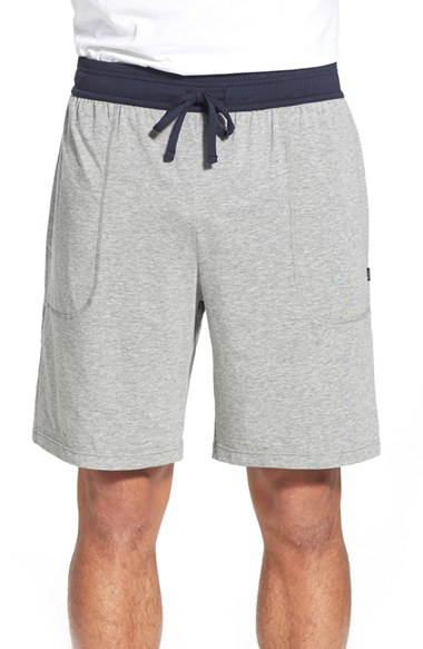 Boss Balance Pima Cotton Amp Modal Blend Shorts In Gray