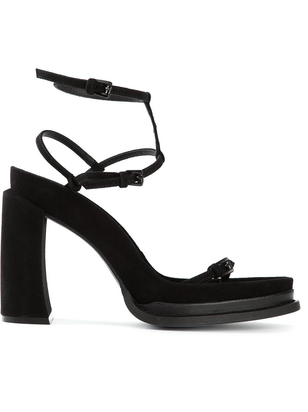 bcf48c2bf8dd Ann Demeulemeester Chunky Heel Sandals in Black - Lyst