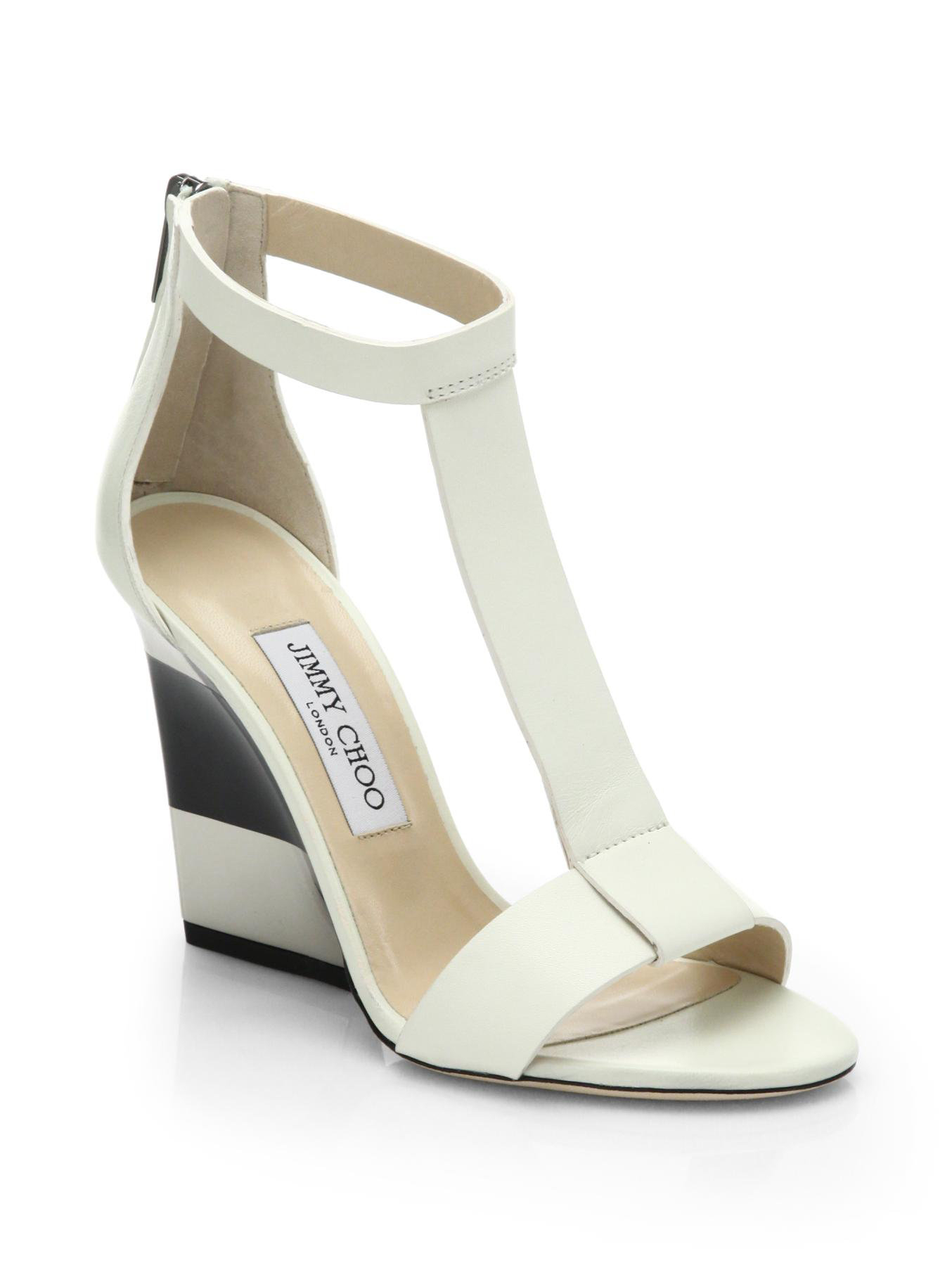 jimmy choo maxy leather t platform wedge sandals in