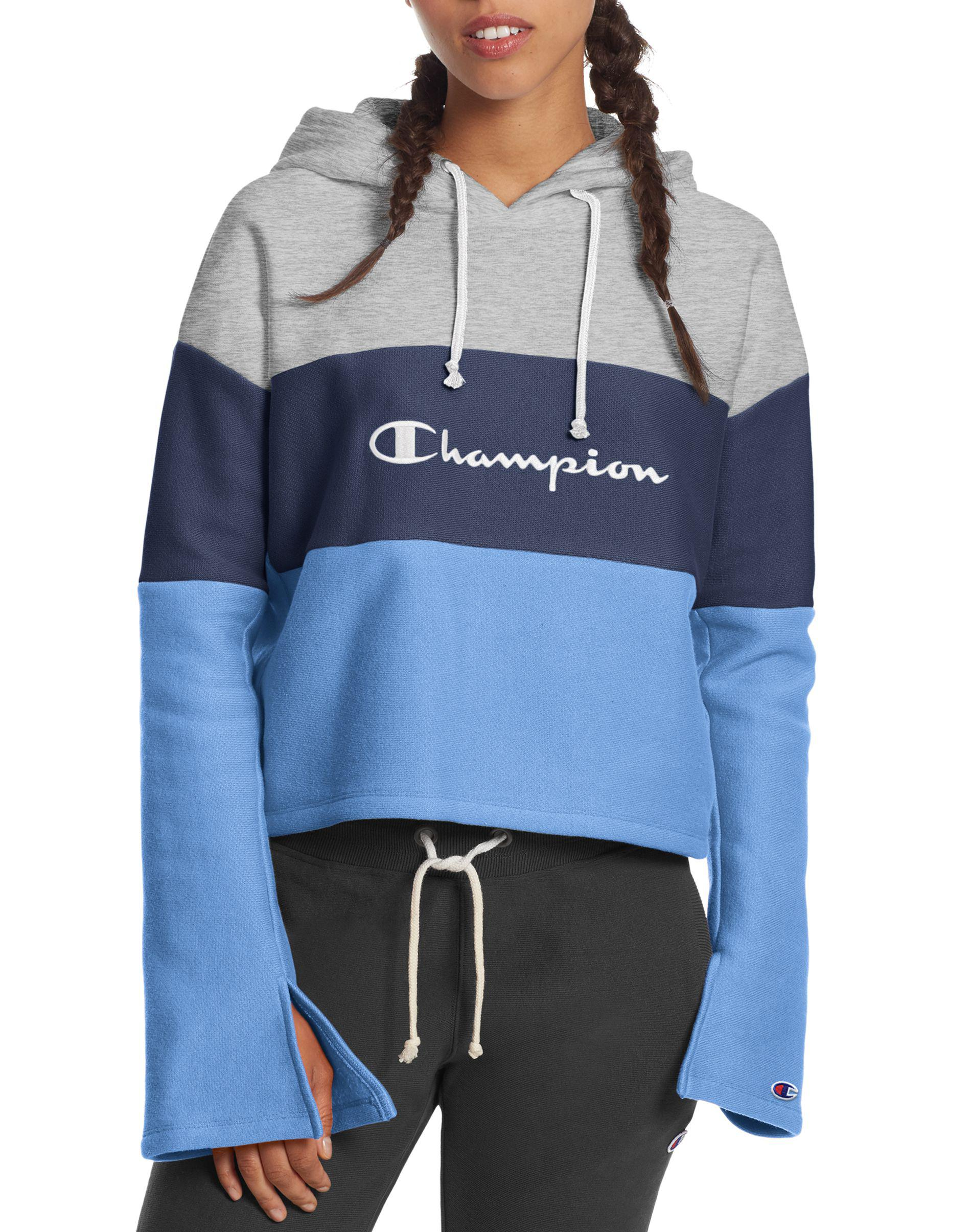 1c4eafd8be0f4 Champion. Women s Life® Reverse Weave® Cropped Colorblock Pullover Hood