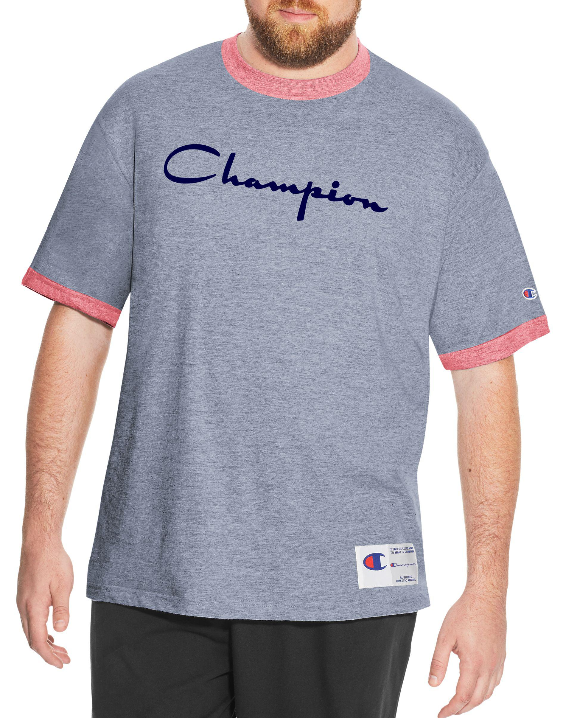 700599c46 Champion - Blue Heritage Big   Tall Ringer Slub Tee for Men - Lyst. View  fullscreen
