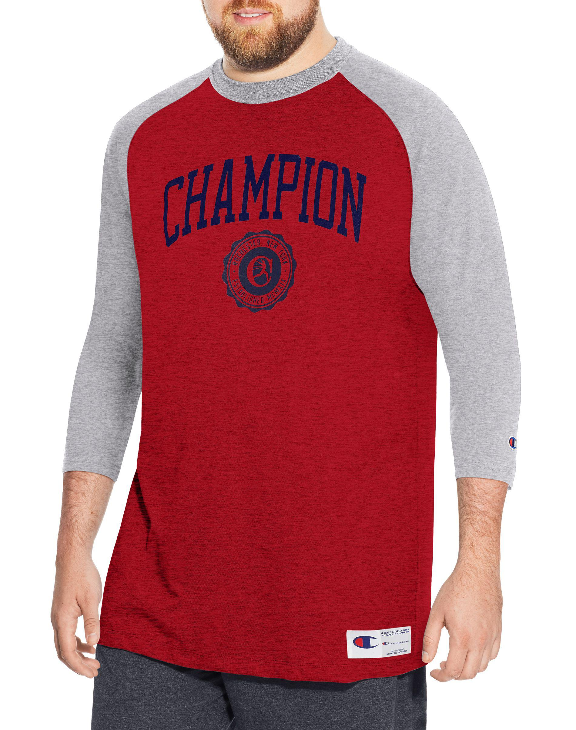 ef8fed999 Champion - Red Heritage Big   Tall Baseball Slub Tee for Men - Lyst. View  fullscreen