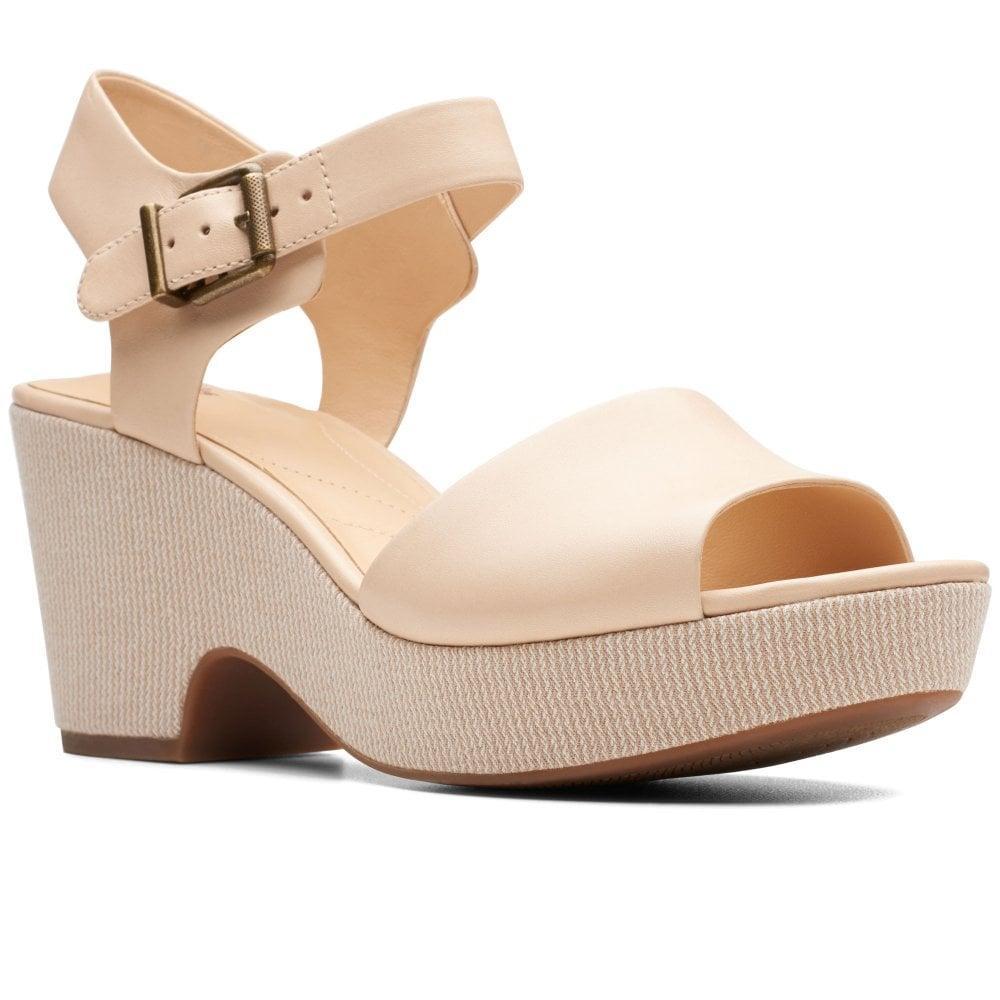 94d084370e7 Clarks Maritsa Janna Womens Wedge Heel Sandals In Natural Lyst