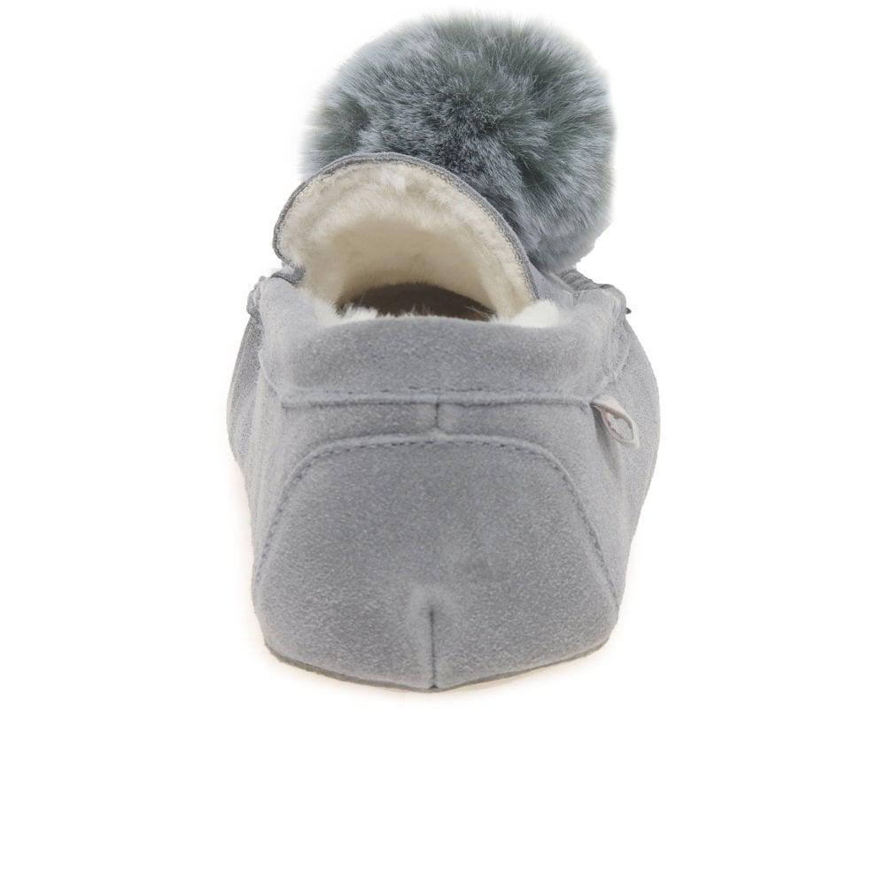 bf71af45ccee1 Charles Clinkard Bessie Womens Pom Pom Cosy Lined Full Moccasin ...