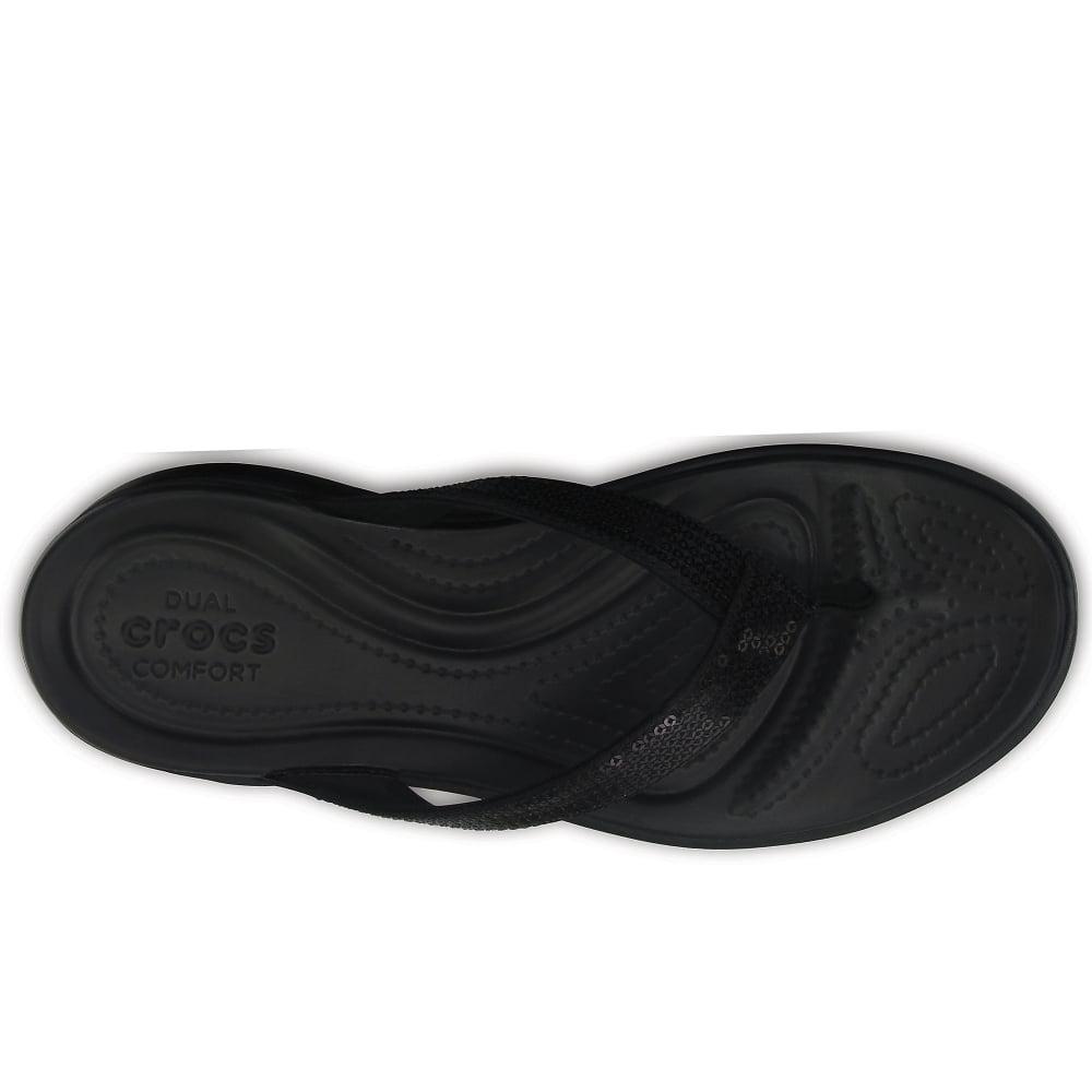 ccbddcac53cd Crocs™ - Black Capri V Sequin Womens Toe Post Sandals - Lyst. View  fullscreen