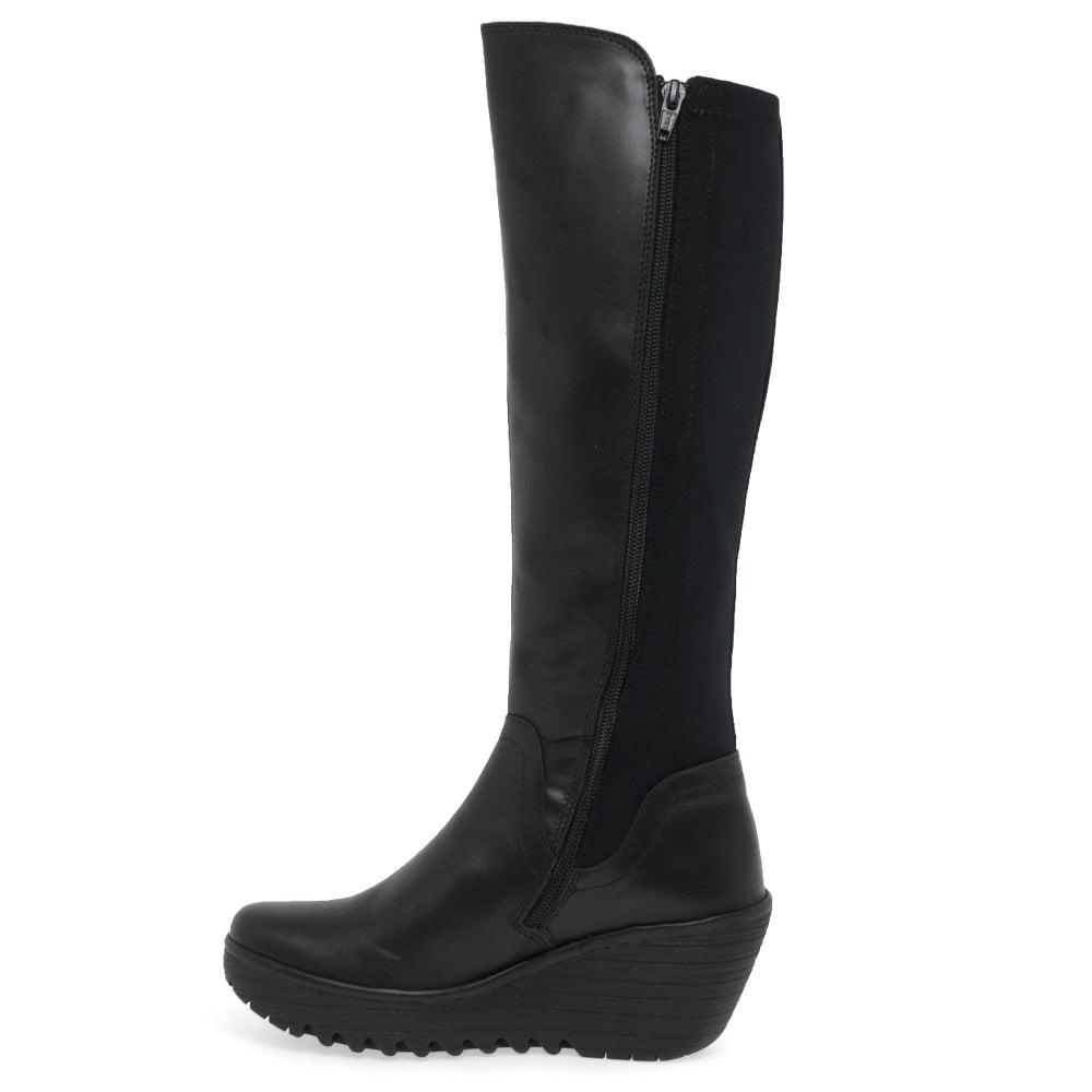 0415acace660 Fly London - Black Yeve Womens Long Leather Neoprene Wedge Heel Boots -  Lyst. View fullscreen