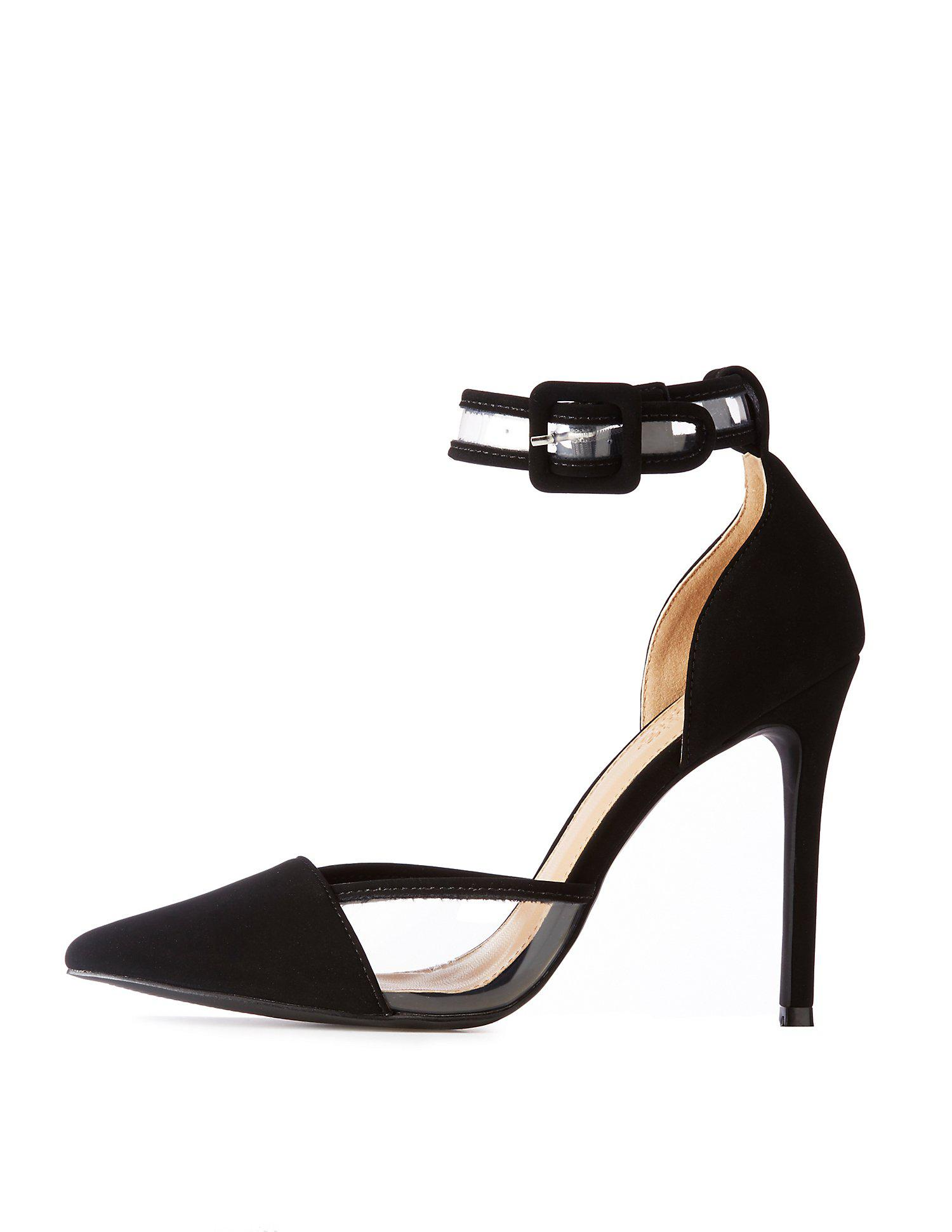 Lyst - Charlotte Russe Pointed Toe & Pvc-trim Stiletto Sandals in