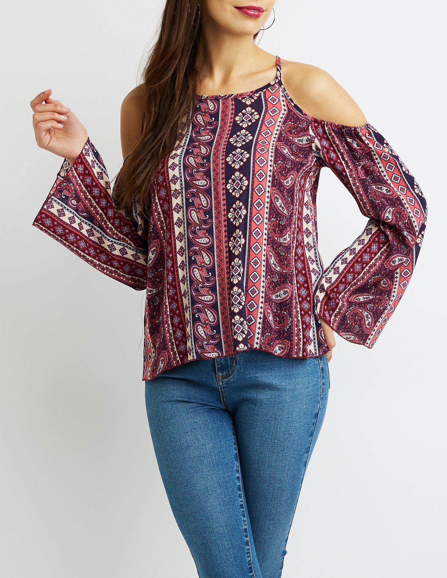 971b6295b82 Lyst - Charlotte Russe Paisley Cold-shoulder Top in Red