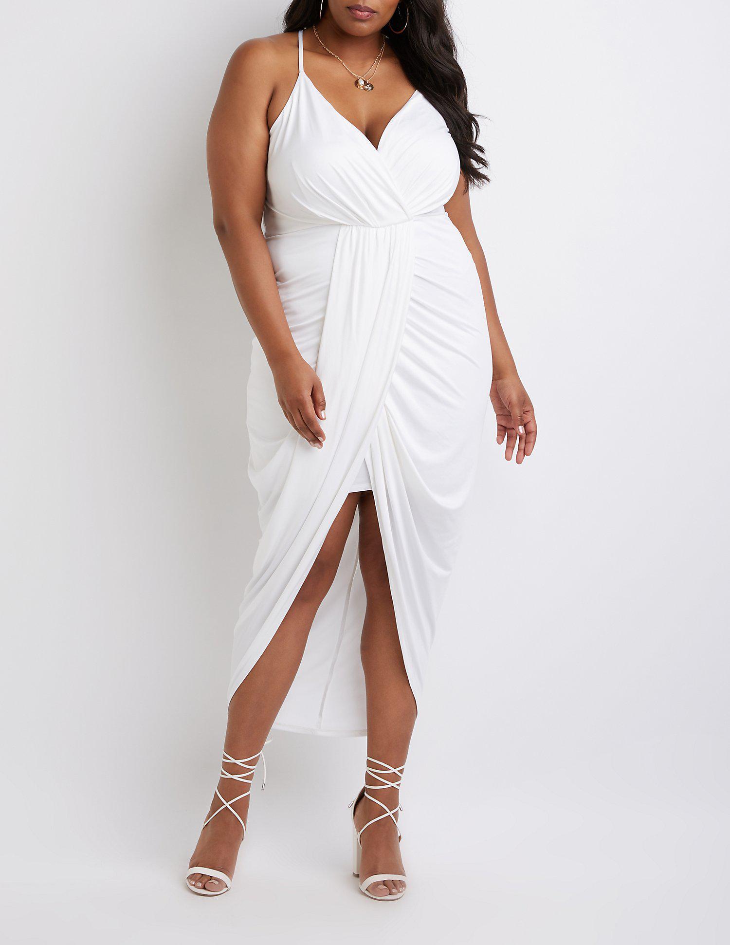 Women\'s White Plus Size Wrap Maxi Dress