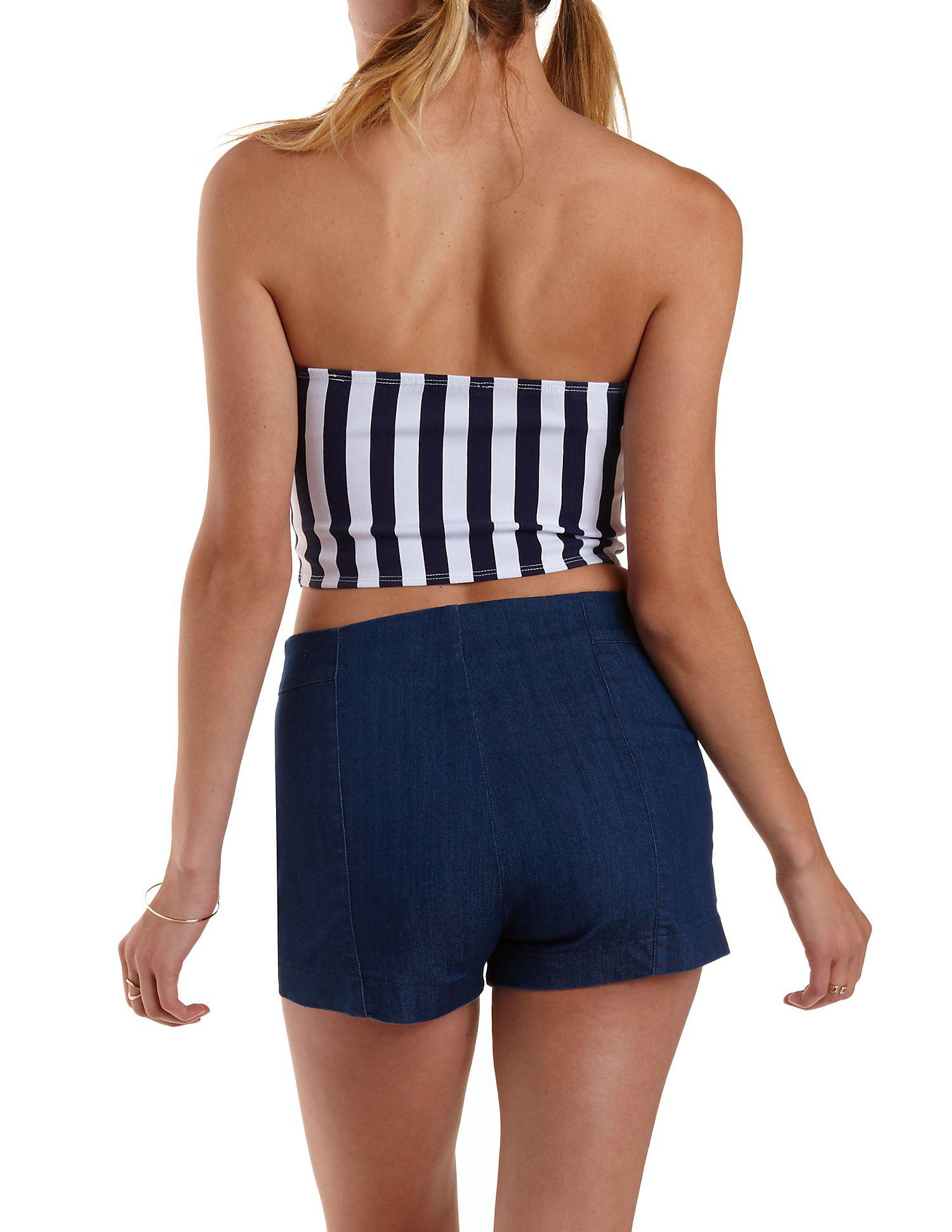 57e2df39c76 Lyst - Charlotte Russe Striped Bow-front Tube Top in Blue