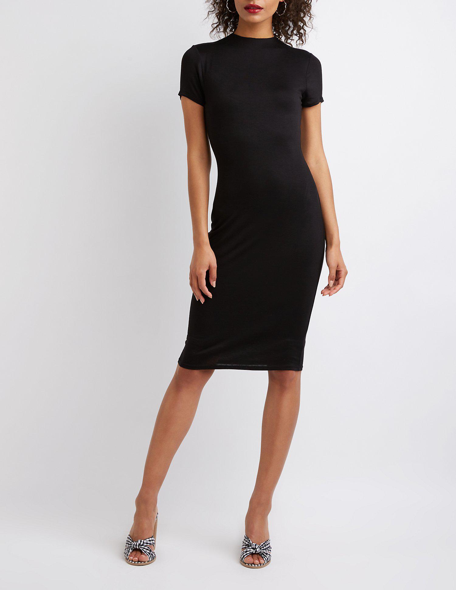 ae0b249d0c7 Lyst - Charlotte Russe Mock Neck Bodycon Midi Dress in Black