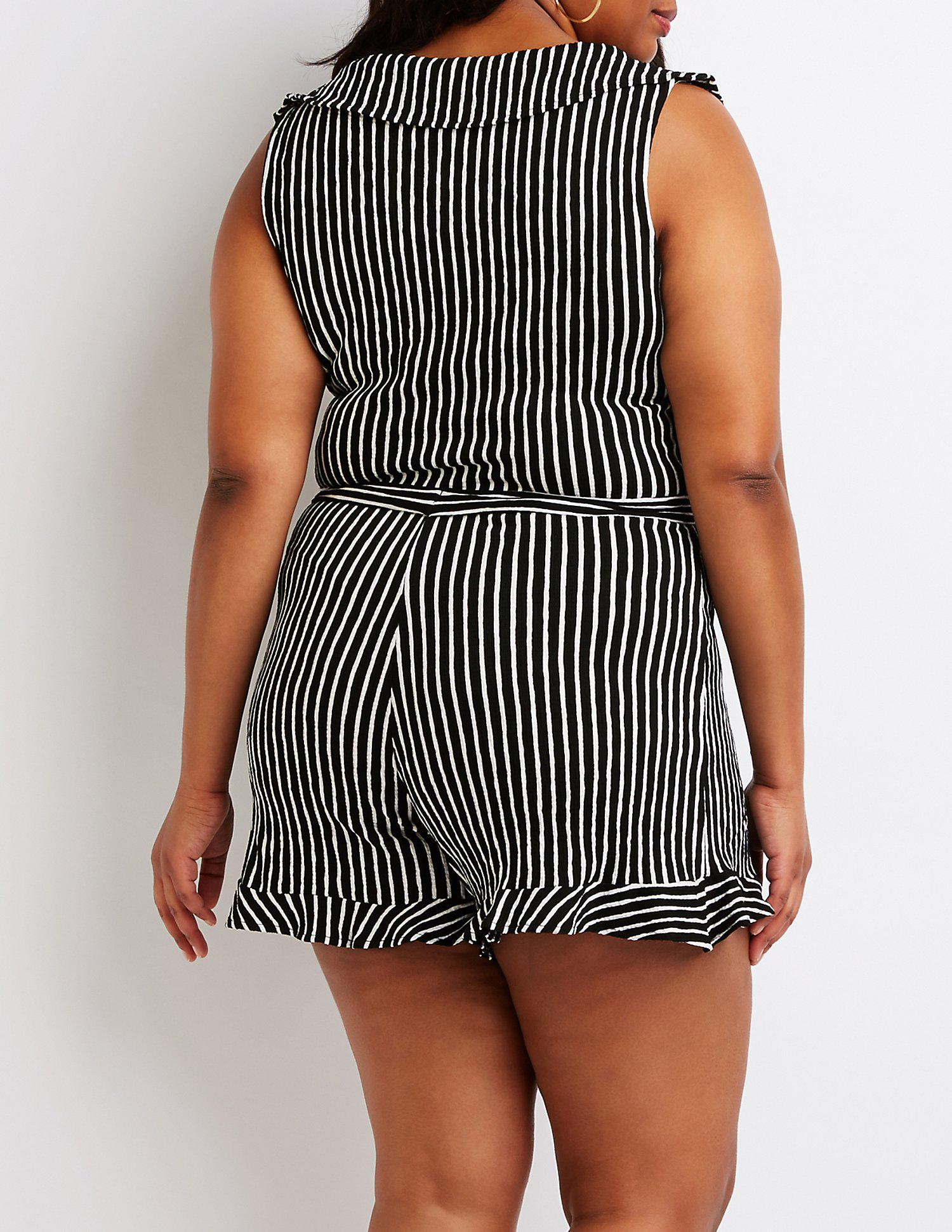 7a65af5d140 Charlotte Russe - Black Plus Size Striped Wrap Romper - Lyst. View  fullscreen