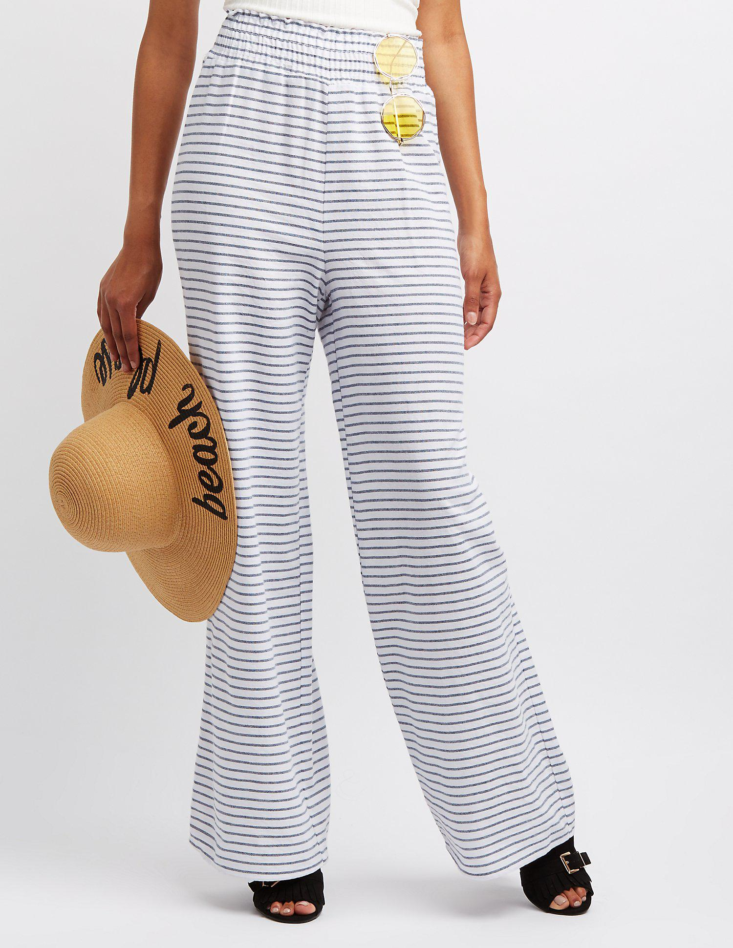a843d48810534 Lyst - Charlotte Russe Striped Smocked Palazzo Pants