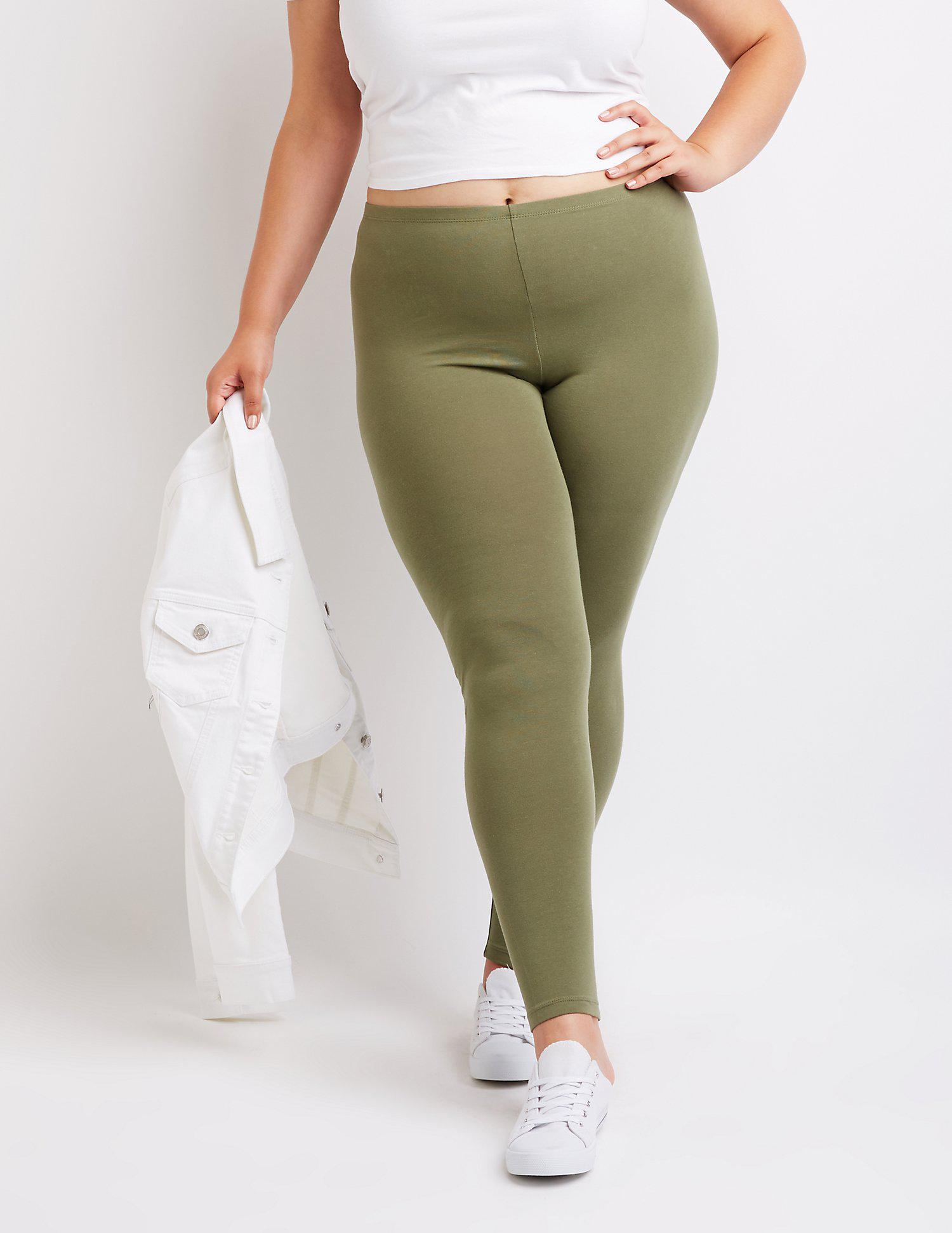 da6dbe0cd44bbe Lyst - Charlotte Russe Plus Size Stretch Cotton Leggings in Green ...