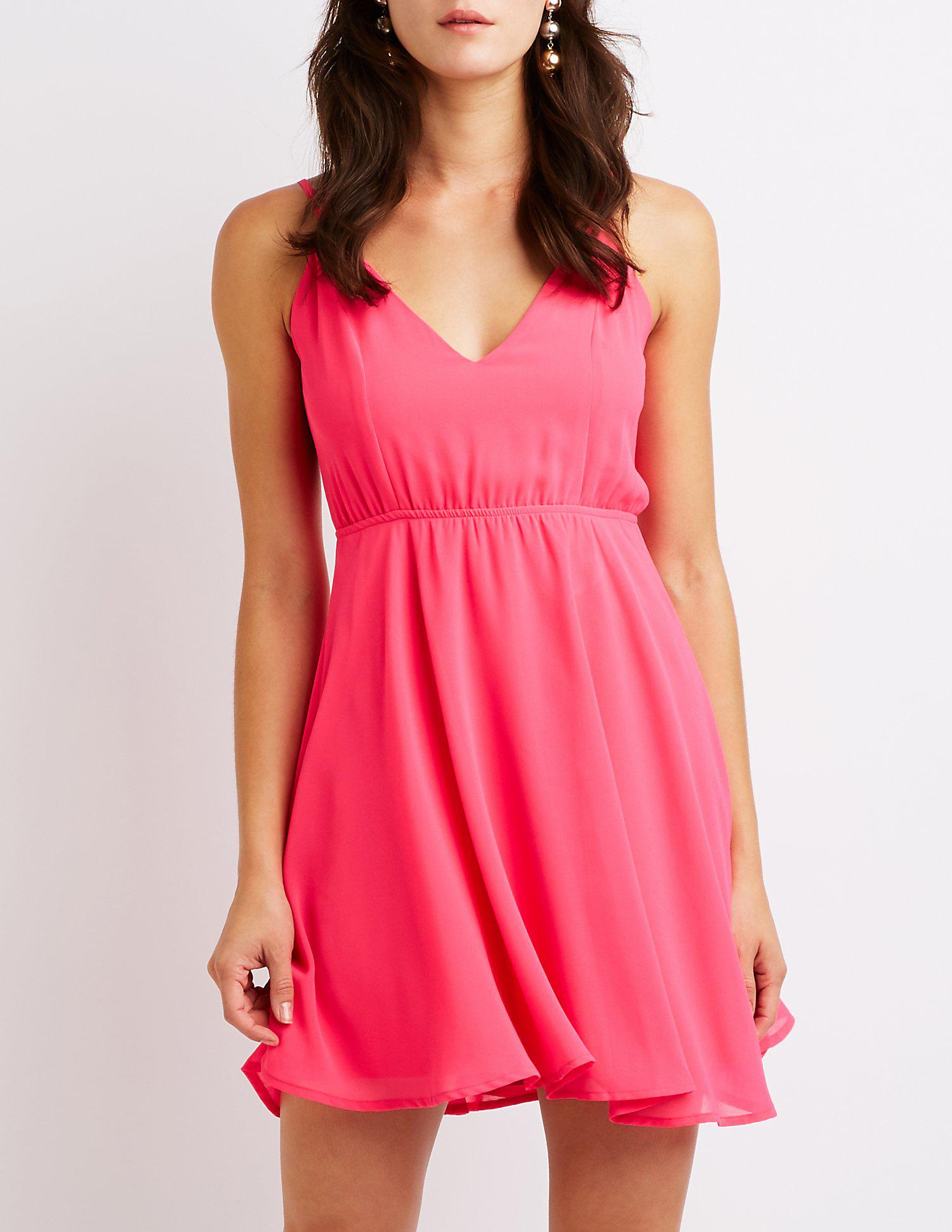 9be18d3fcb Lyst - Charlotte Russe Strappy Open Back Skater Dress in Pink