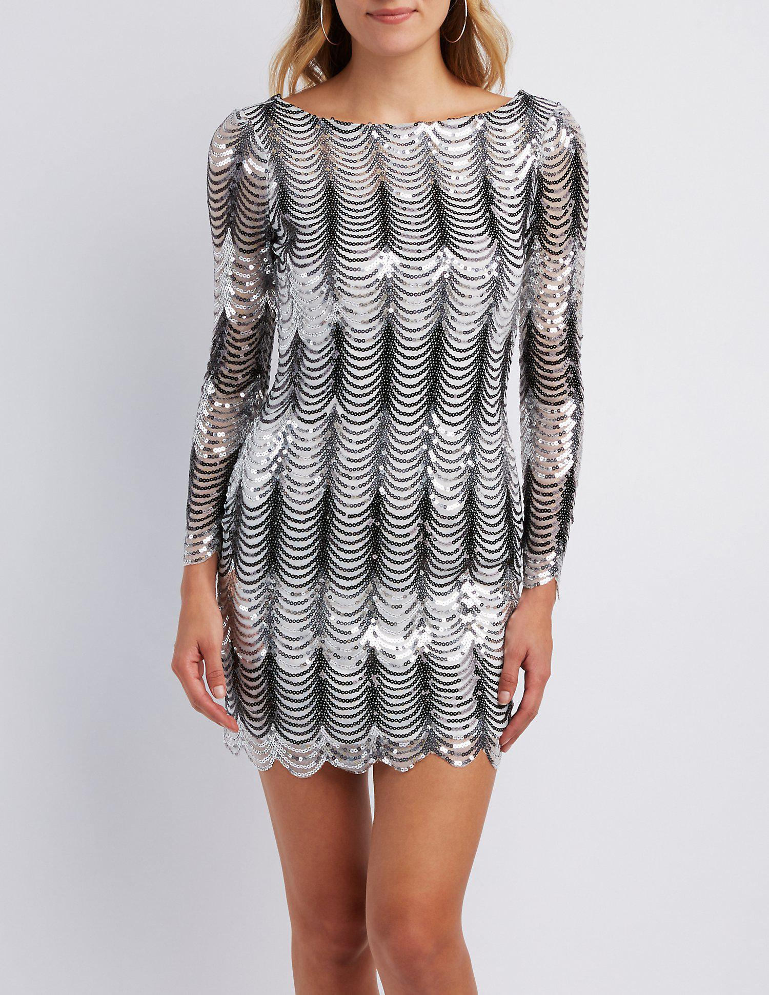 cd4d2157bc Lyst - Charlotte Russe Scalloped Sequins Bodycon Dress