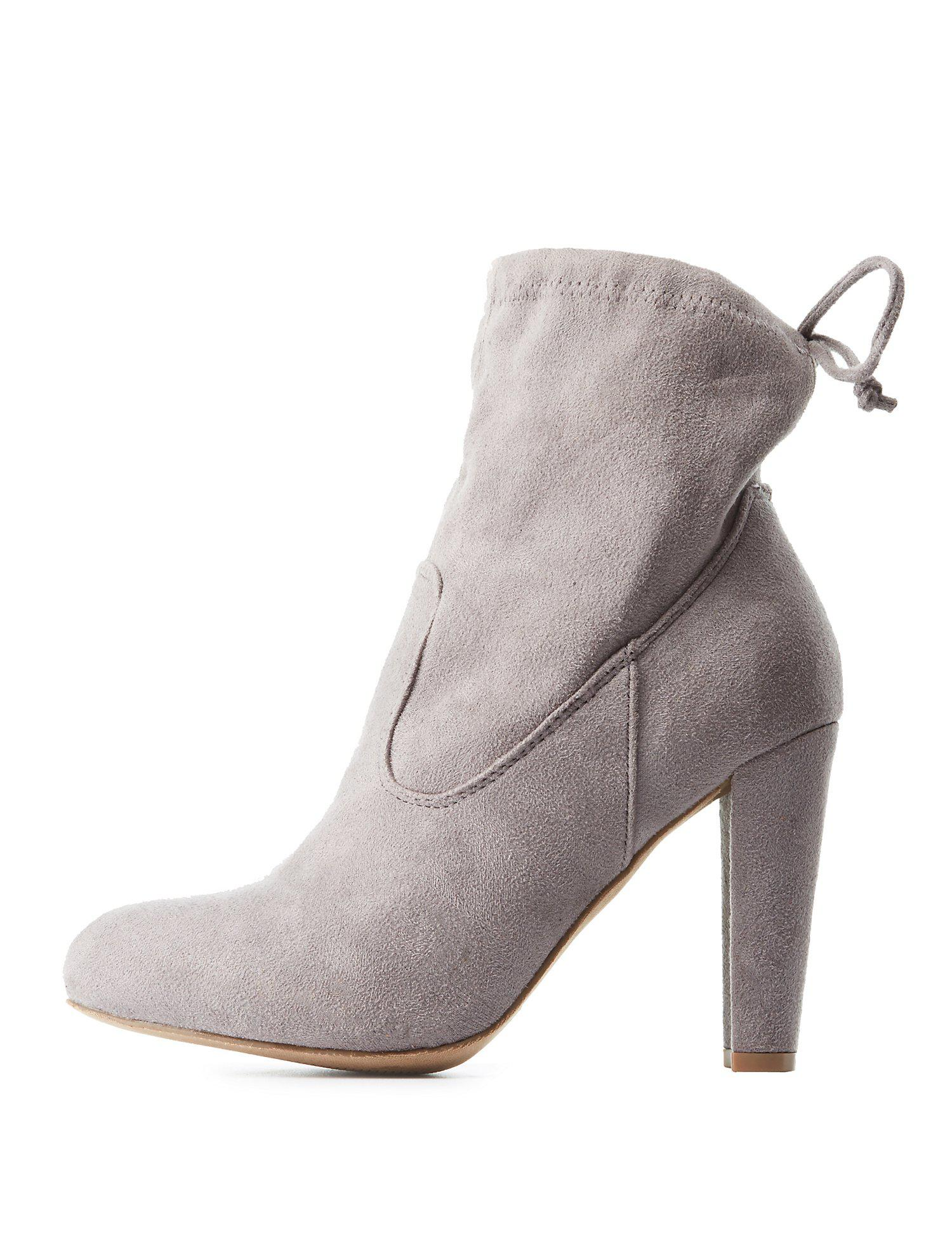360d5f3dfd8b Lyst - Charlotte Russe Tie-back Ankle Booties in Gray
