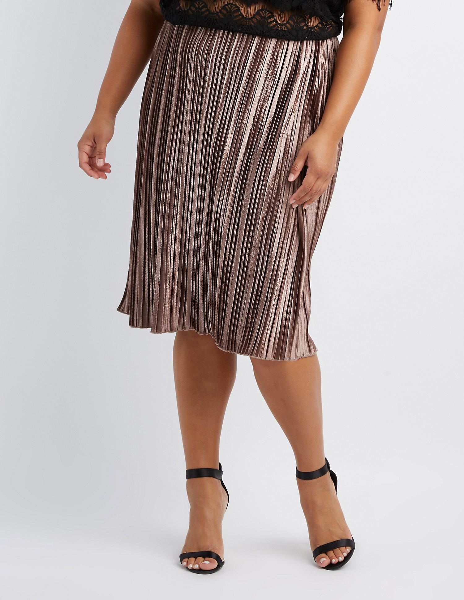 58679e2cc2 Charlotte Russe. Women's Brown Plus Size Striped Velvet Pencil Skirt