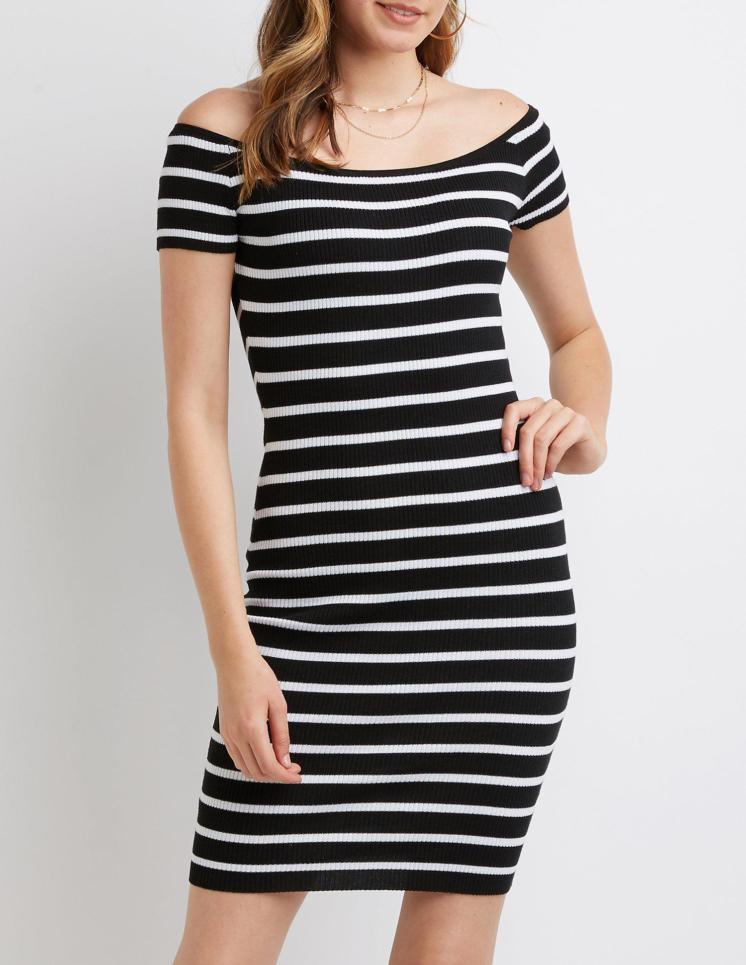 1e229961e73 Lyst - Charlotte Russe Off The Shoulder Bodycon Dress in Black