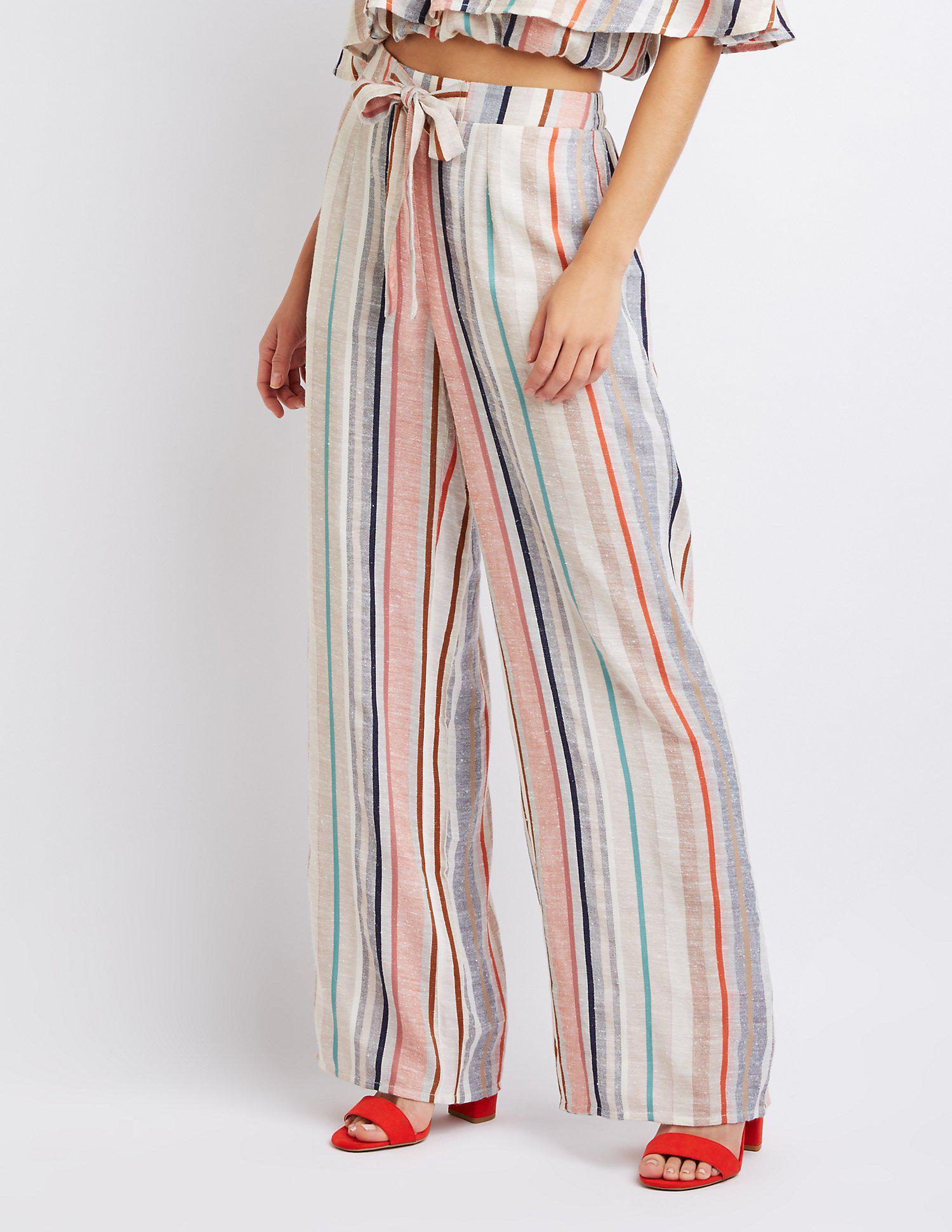 2e91f08f95ccb Lyst - Charlotte Russe Striped Tie-front Palazzo Pants