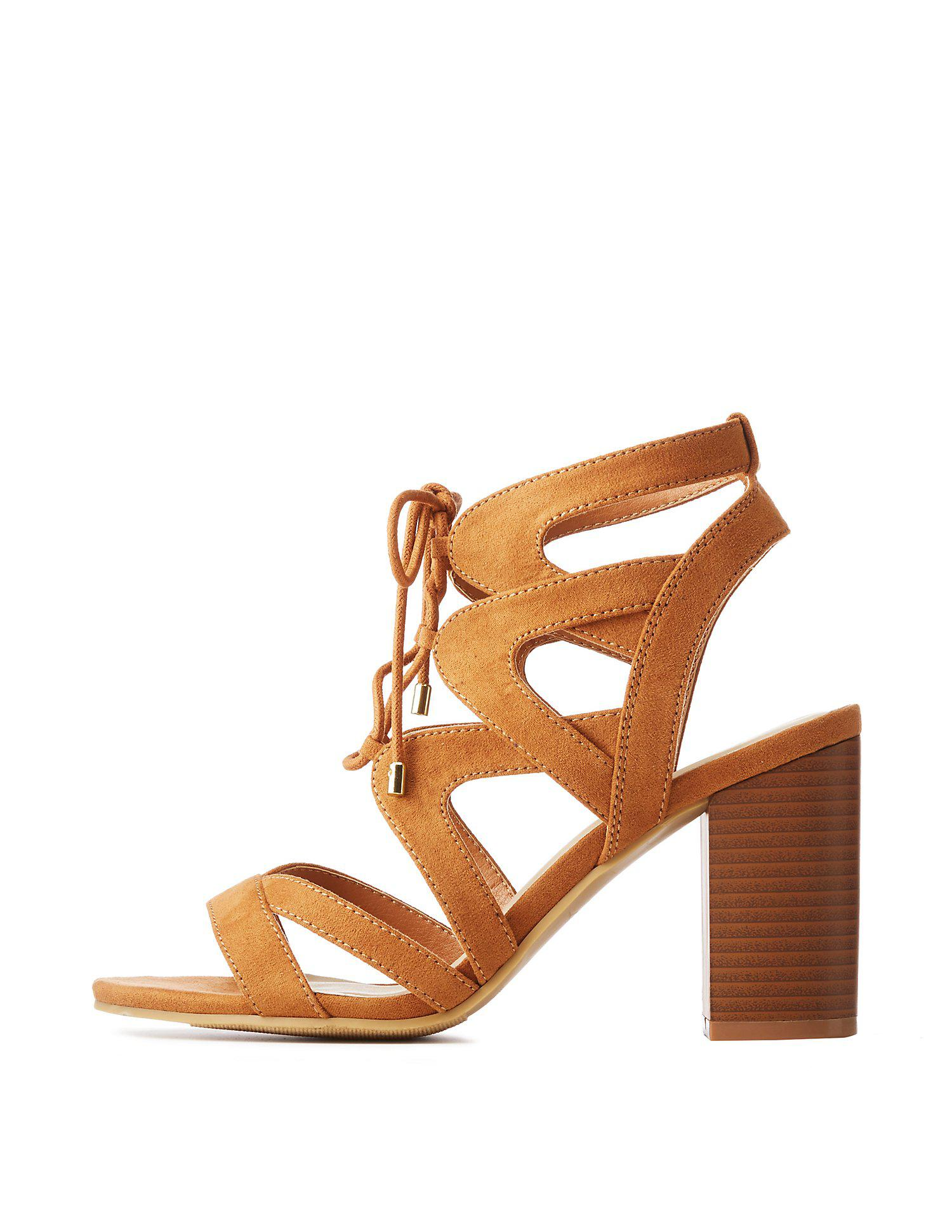 0bee37d6b4b Lyst - Charlotte Russe Caged Lace-up Sandals in Brown - Save 62%