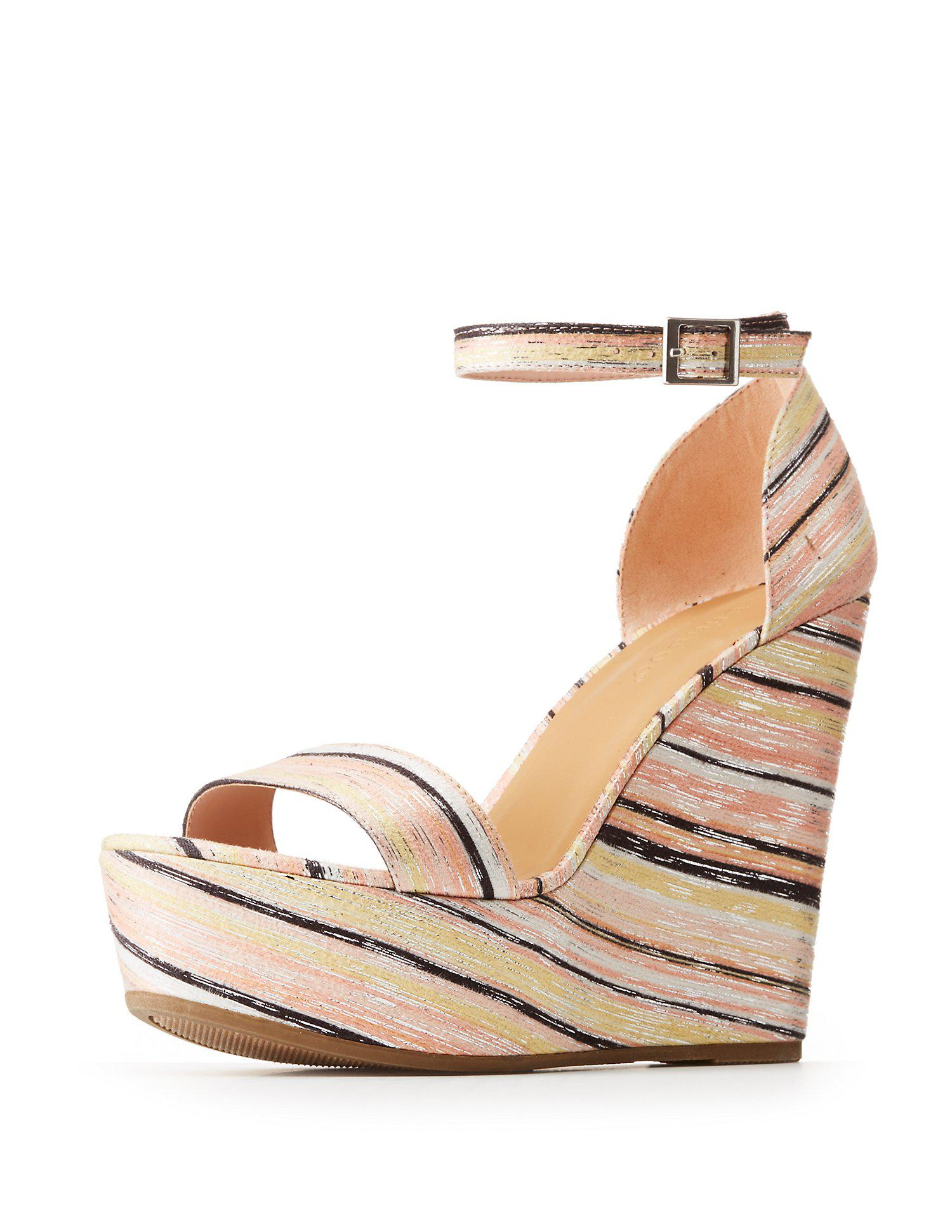 45e670e5d591 Lyst - Charlotte Russe Bamboo Striped Platform Wedges Sandals in Natural