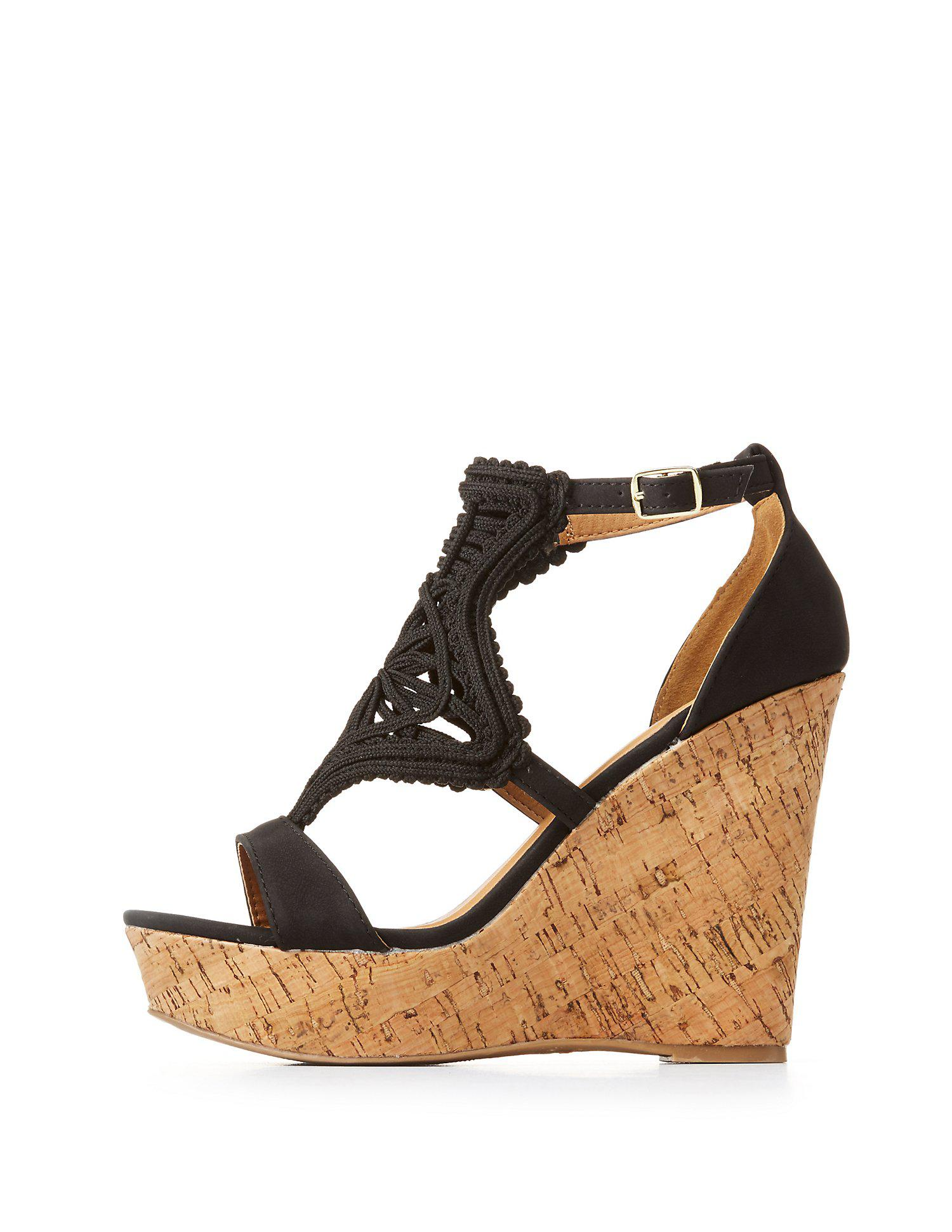 969849f91415 Lyst - Charlotte Russe Woven Cork Wedge Sandals in Black