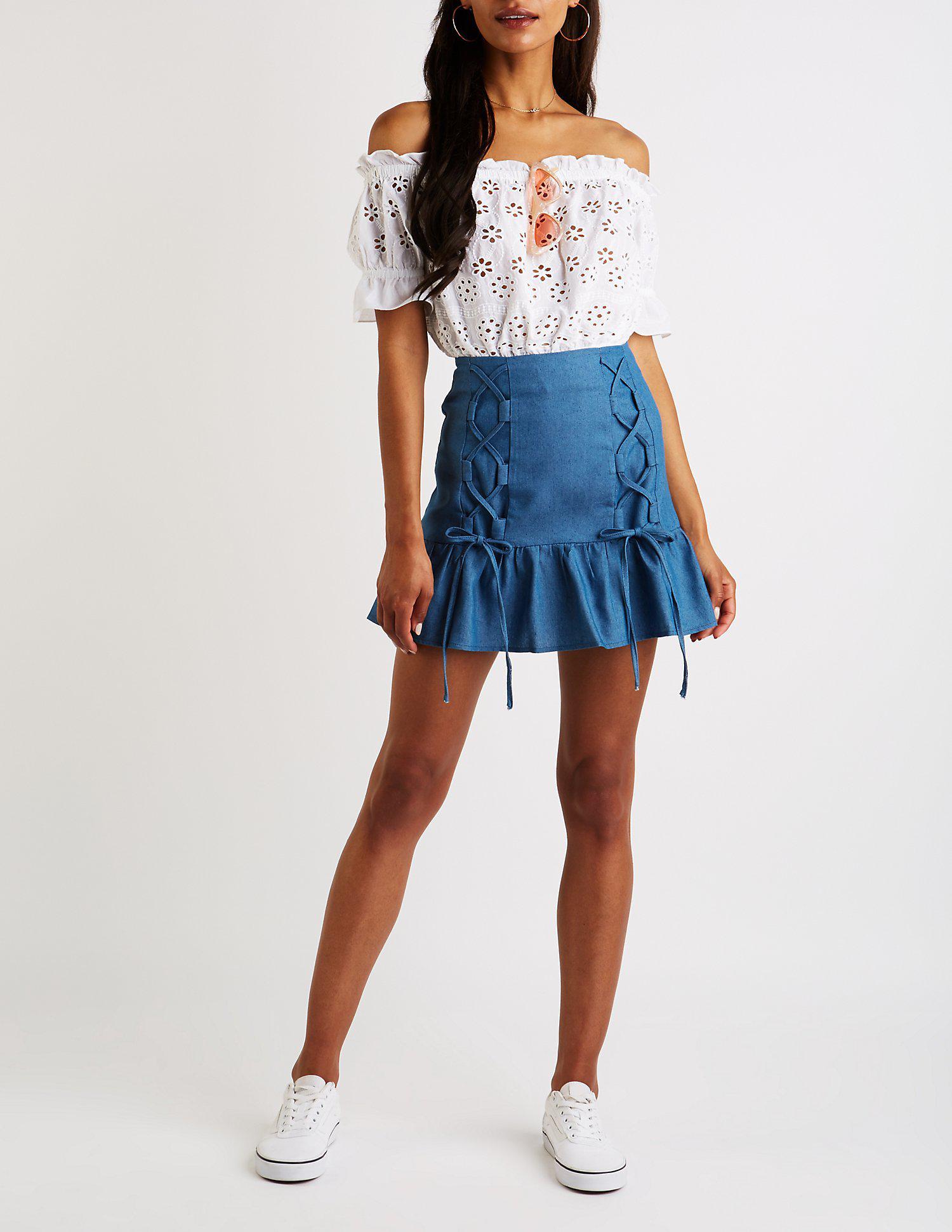 c63123f7a4 ... Blue Chambray Lace Up Mini Skirt - Lyst. View fullscreen
