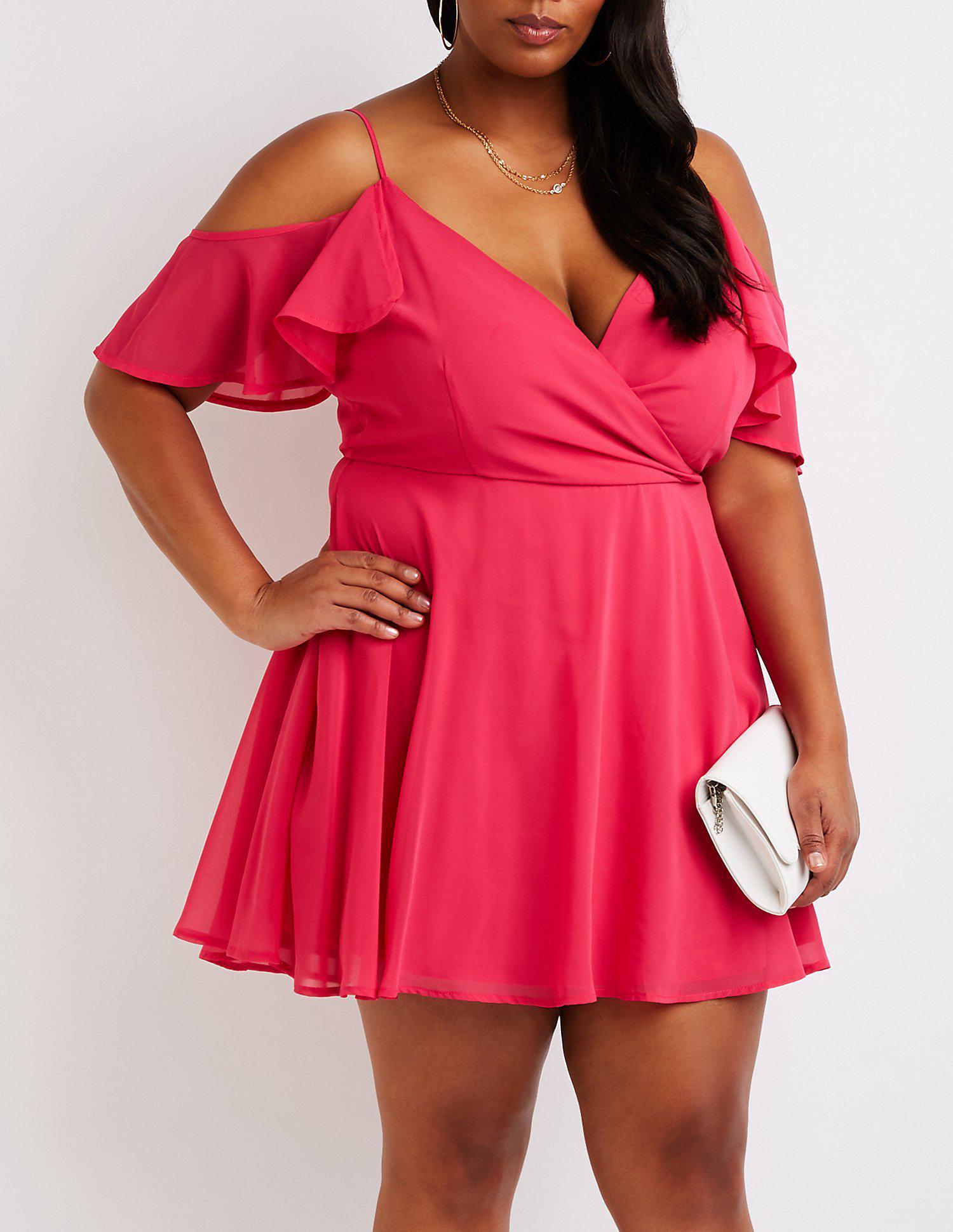 85af1de9827 Lyst - Charlotte Russe Plus Size Cold Shoulder Skater Dress in Pink