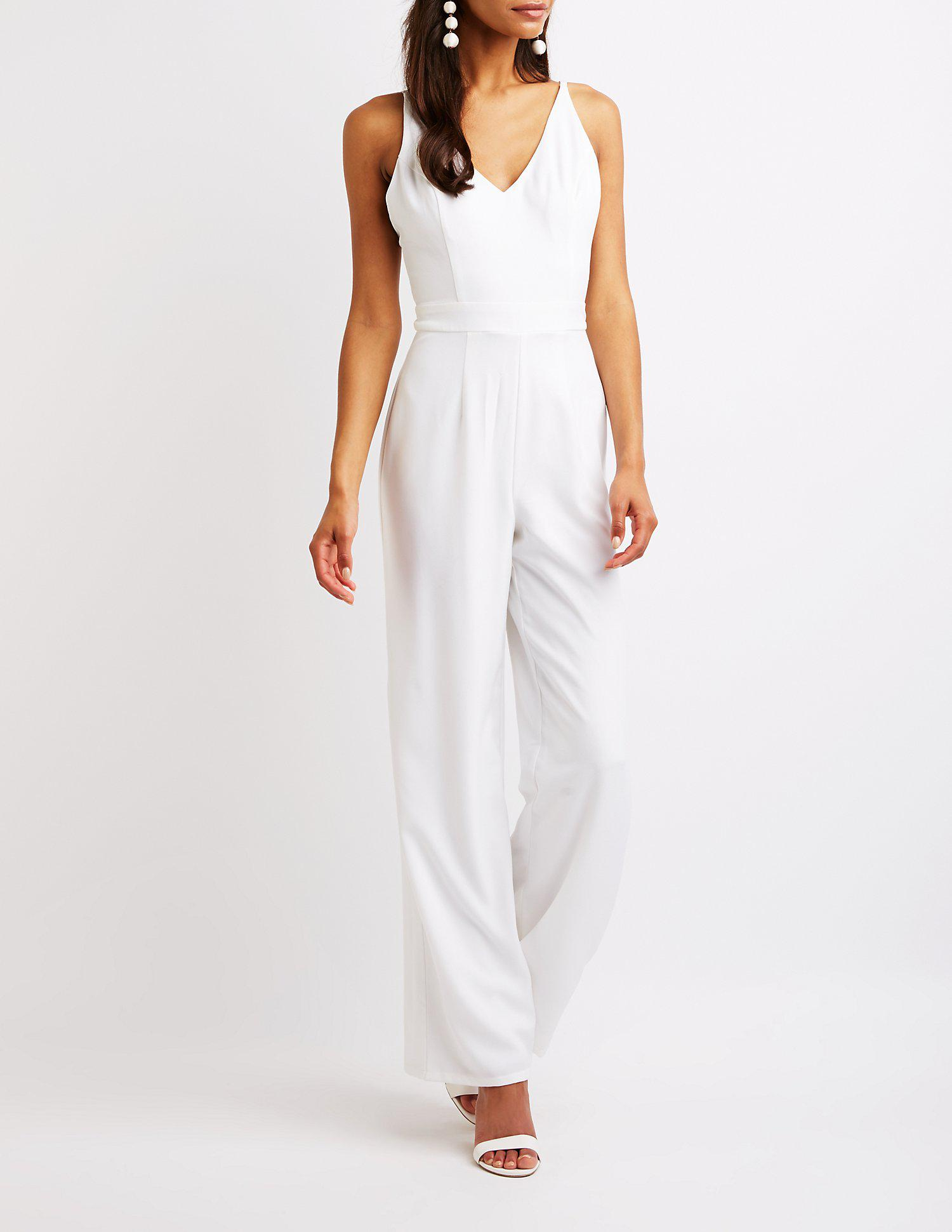 22eba0198219 Lyst - Charlotte Russe Open Back Wide Leg Jumpsuit in White